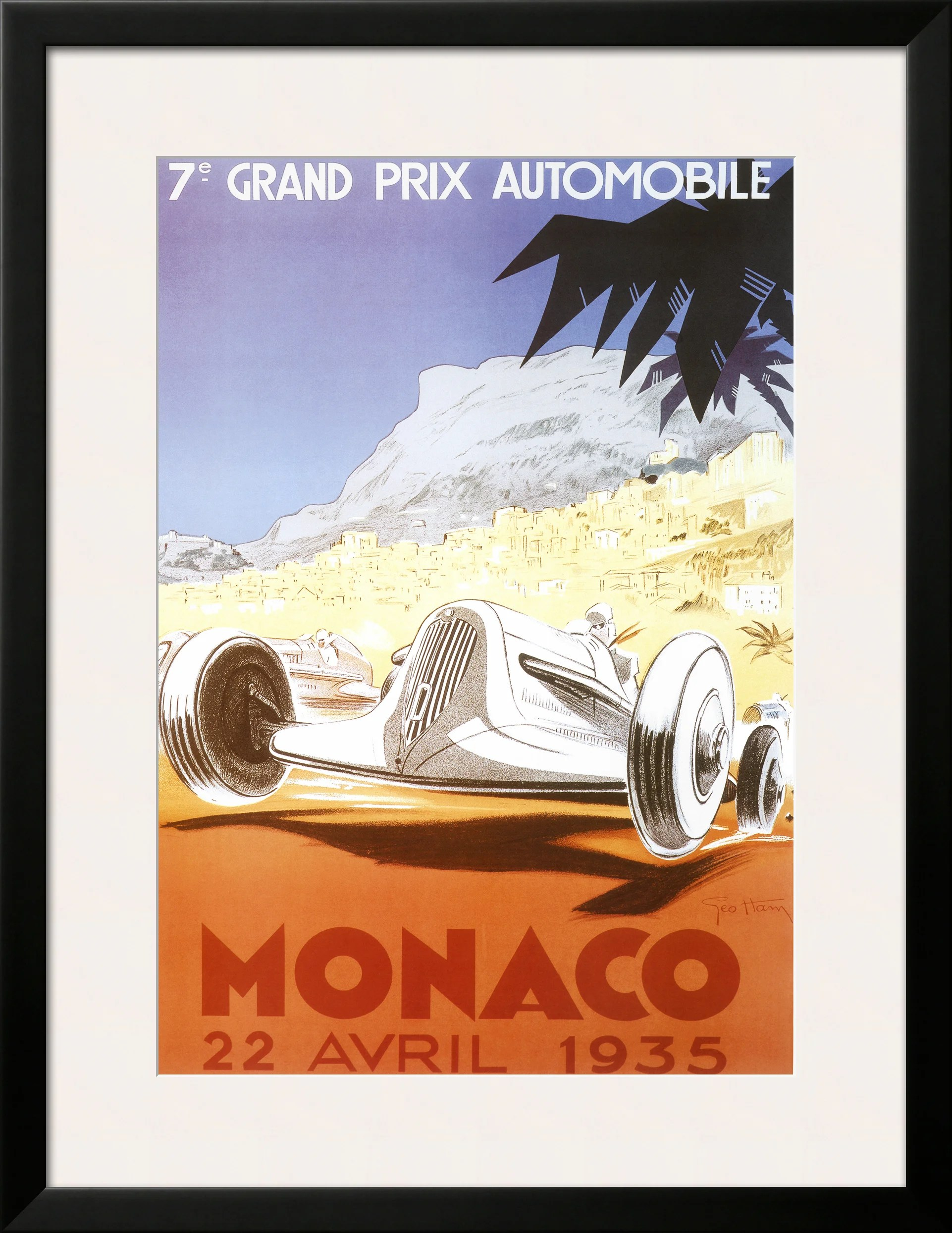Piece Automobile Prix 7th Grand Prix Automobile Monaco 1935 By Geo Ham Framed Graphic Art