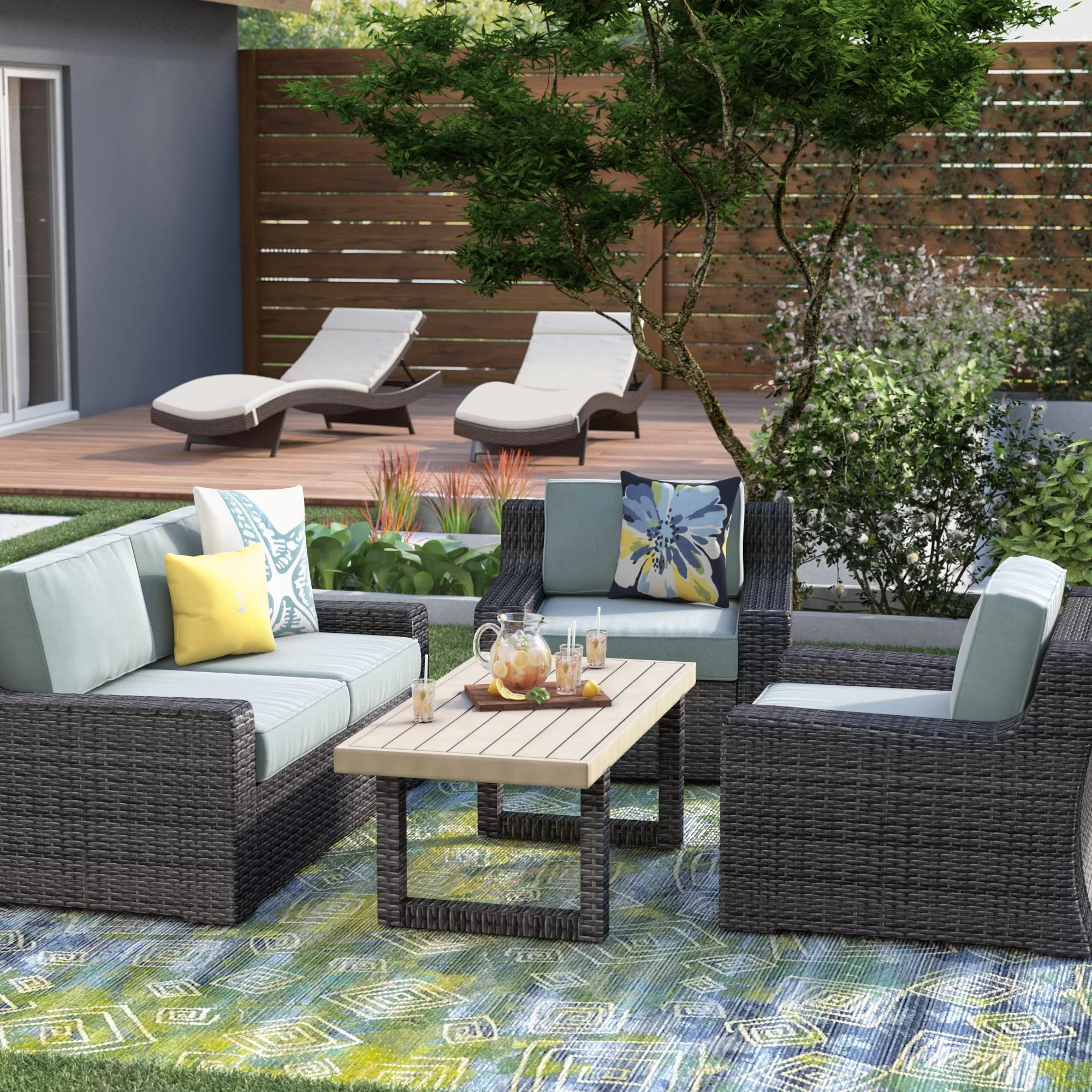 Baptist 6 Piece Rattan Sofa Set With Cushions Linwood 4 Piece Sofa Set With Cushions