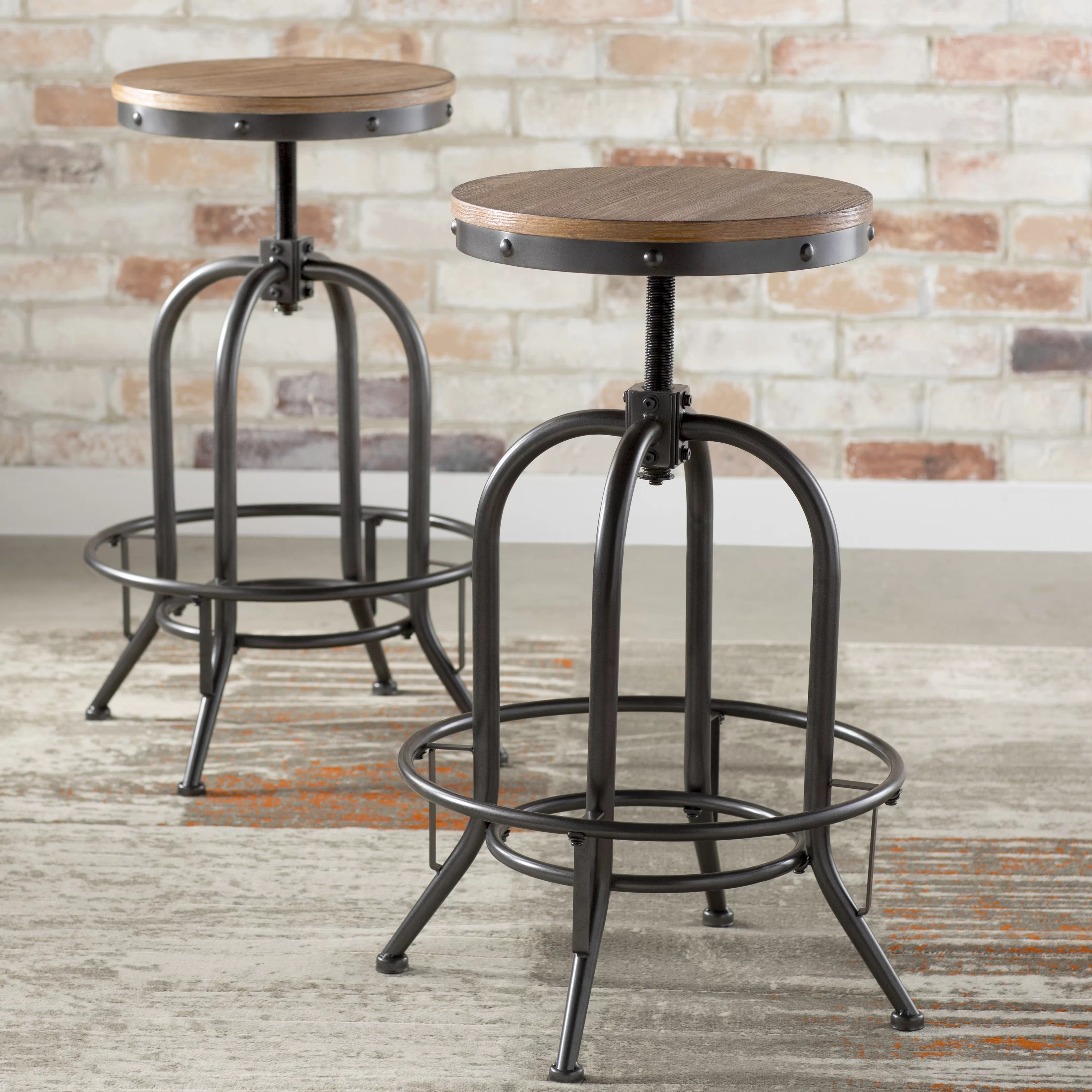 Table And Bar Stools Empire Adjustable Height Swivel Bar Stool