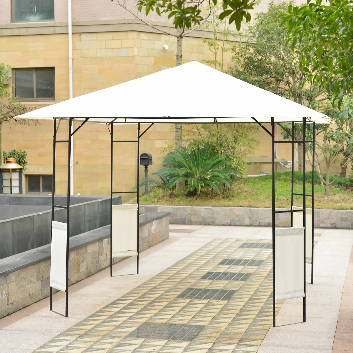 Metal Garden Gazebo Garden 10 Ft W X 10 Ft D Metal Patio Gazebo