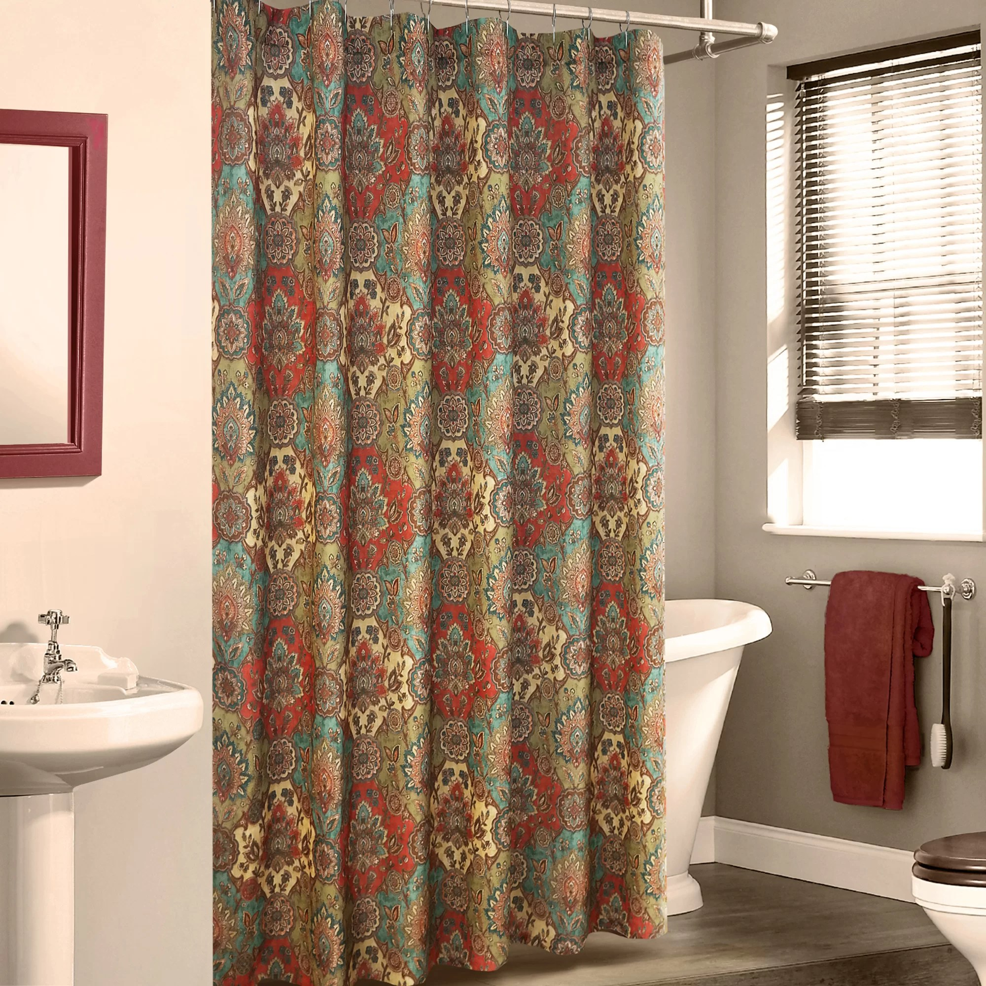 Red And Brown Shower Curtain Fantine Linen Shower Curtain