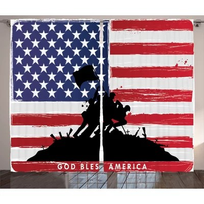 Red Barrel Studio Woodhaven American God Bless America Silhouettes - America Flag Background