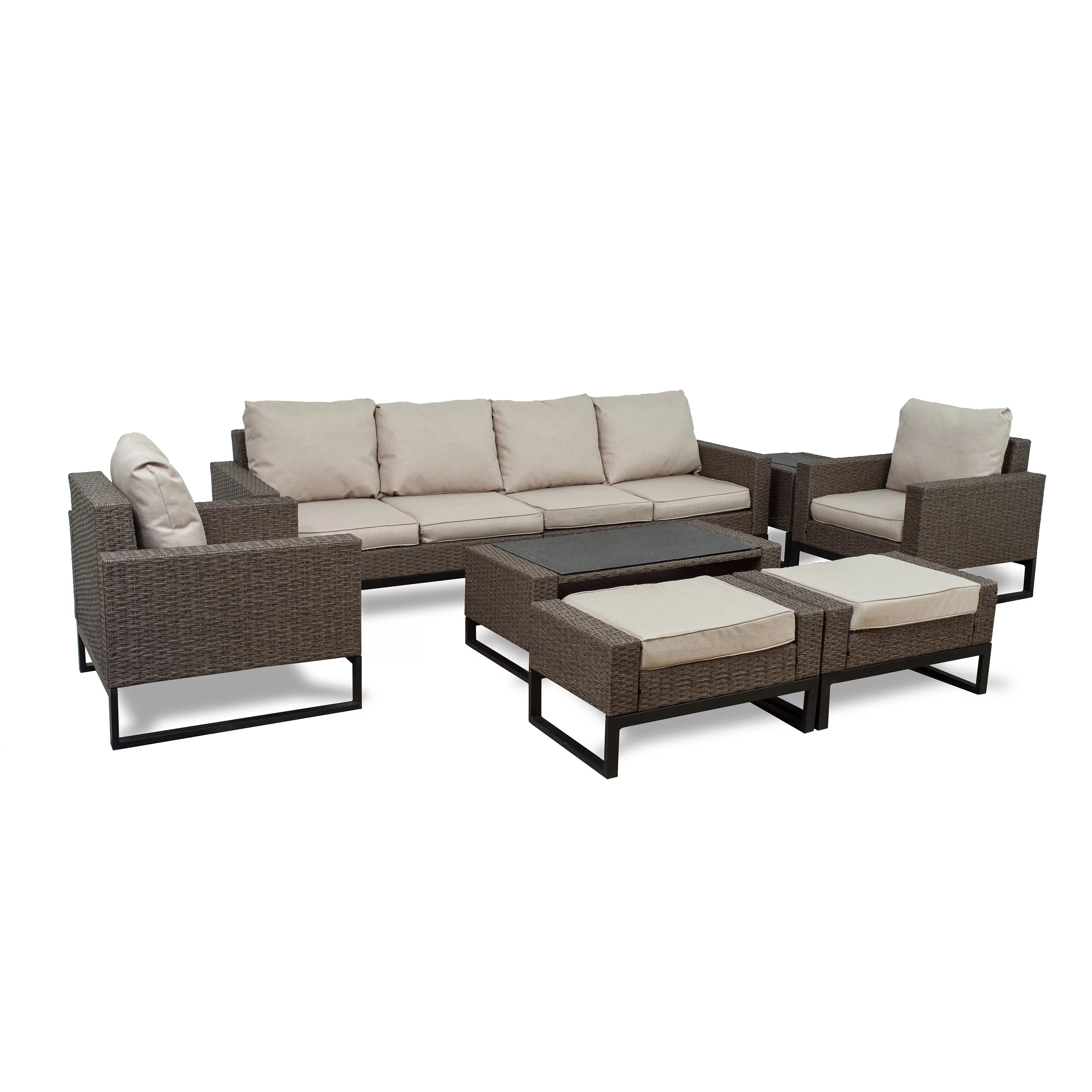 Rattan Sofa Bawden 8 Piece Rattan Sofa Seating Group With Cushions