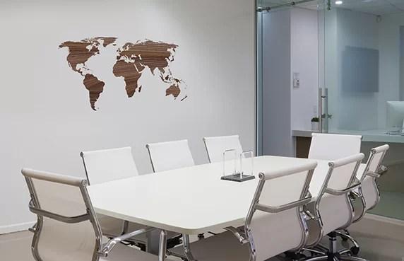 Paperflow Office Deco Transfer Wooden Worldmap Wall Decal Wayfair