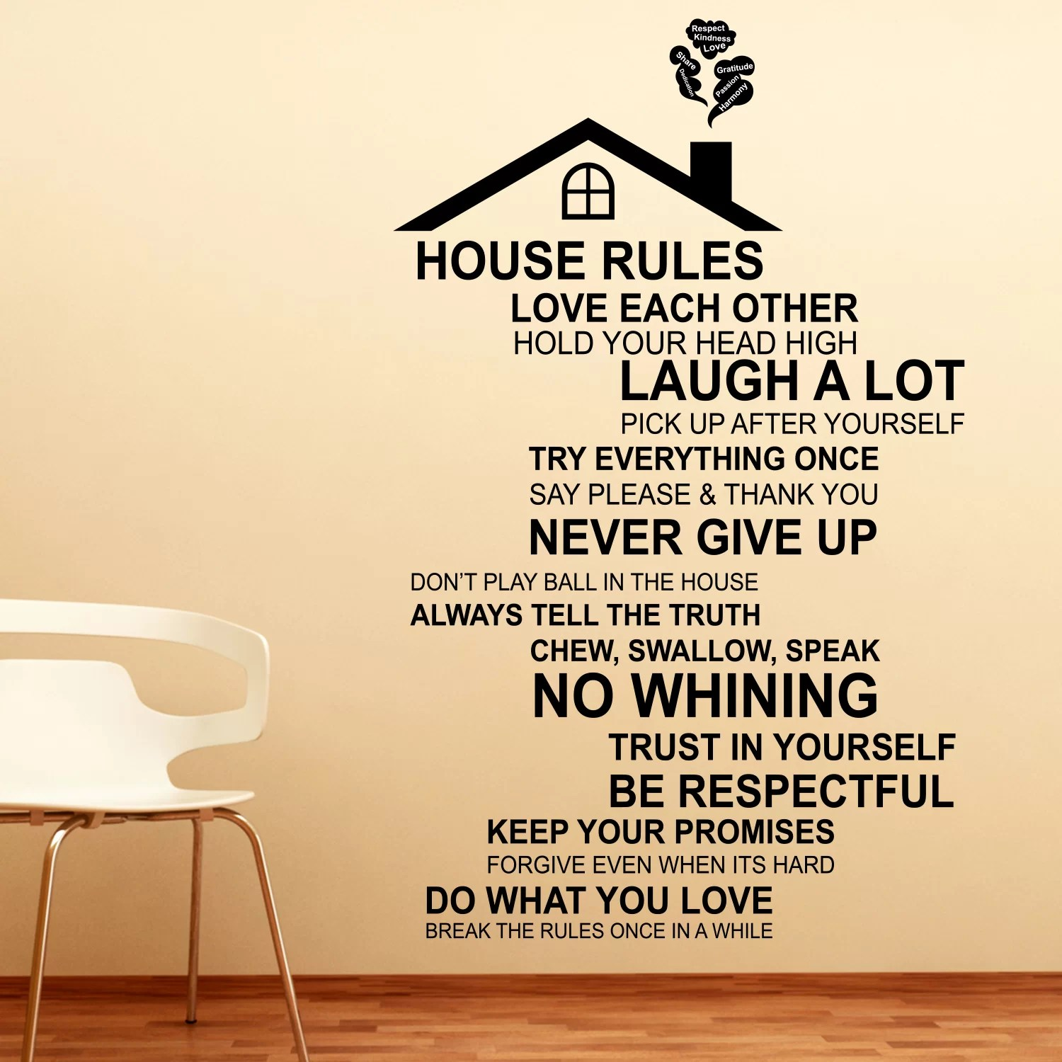 Winston Porter House Roof And Rules Quote Wall Decal Wayfair