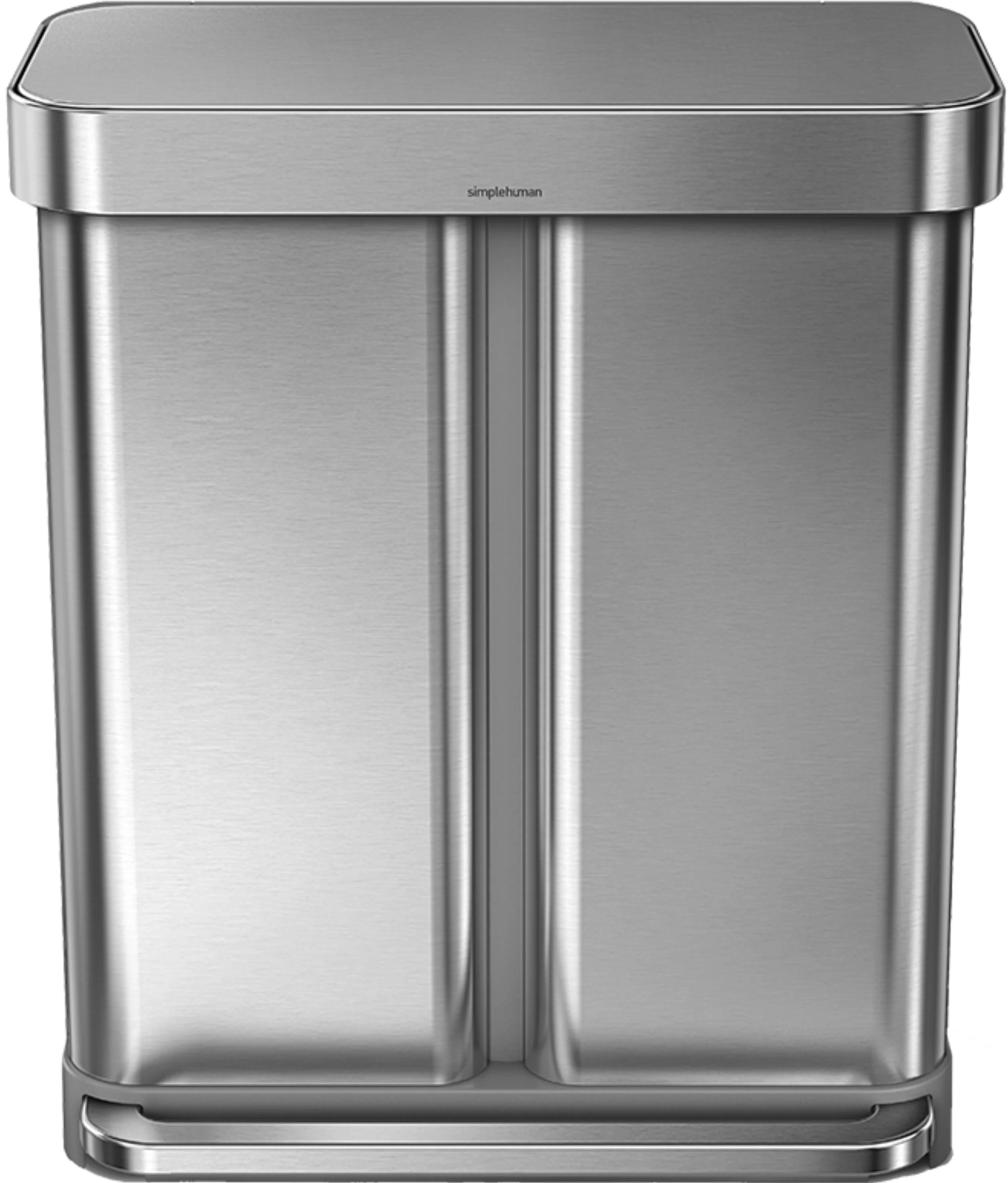 Stainless Steel Recycling Bins 15 Gallon Dual Compartment Rectangular Step Trash Can With Liner Pocket Recycler Stainless Steel