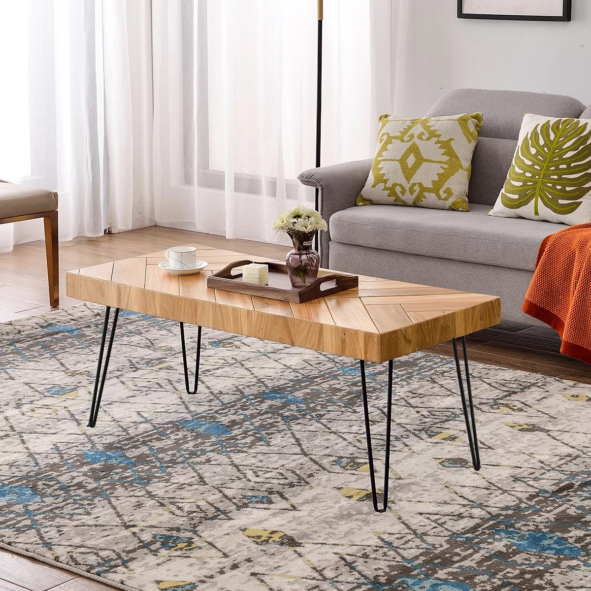 Stunning Side Table In Solid Hardwood Modern Design With Steel Hairpin Legs