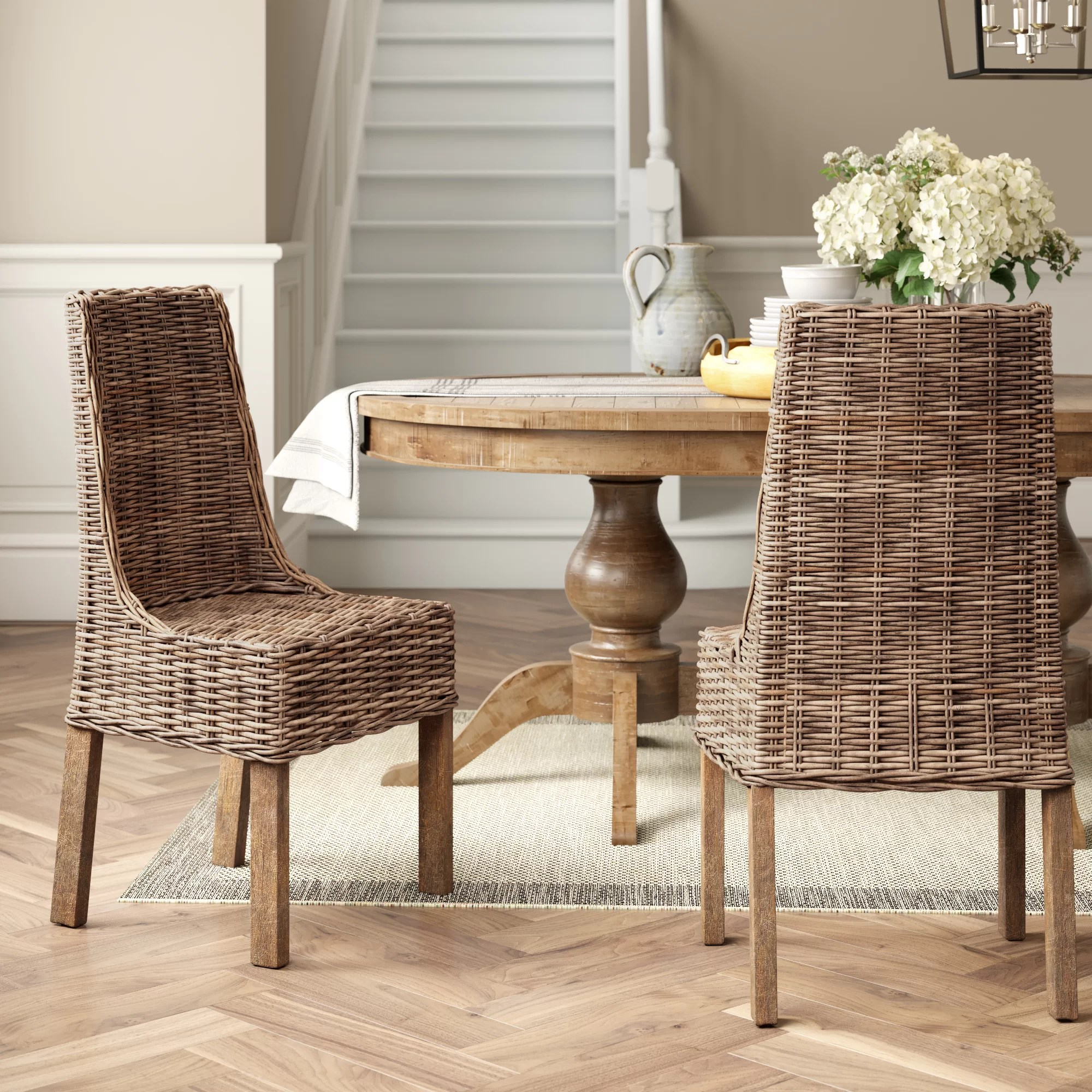 Gray Wicker Rattan Kitchen Dining Chairs You Ll Love In 2021 Wayfair