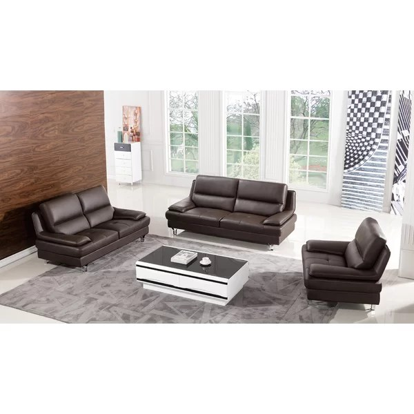 AmericanEagleInternationalTrading Harrison Leather 3 Piece Living - 3 piece living room sets