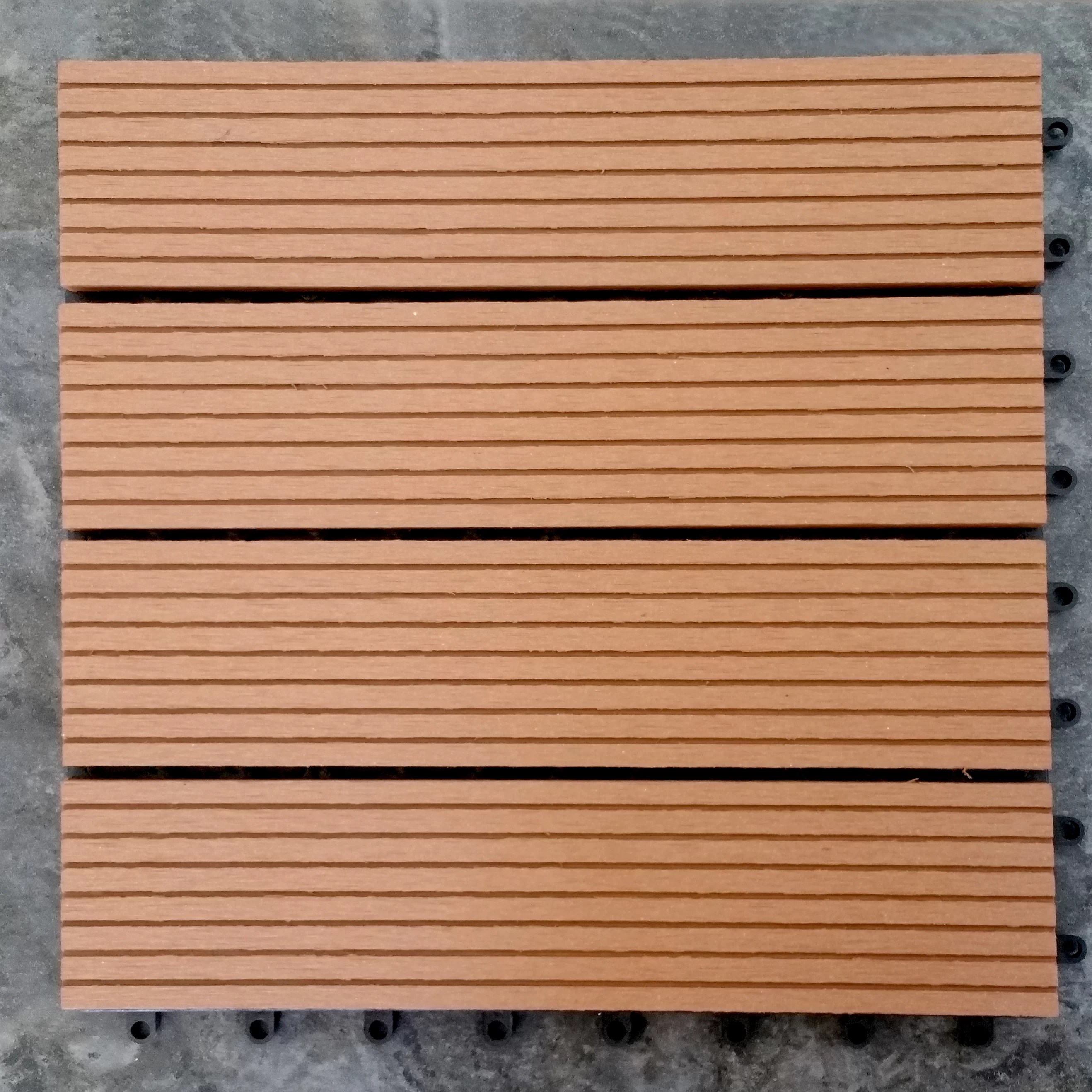 Interlocking Deck Tiles Composite Teak 12