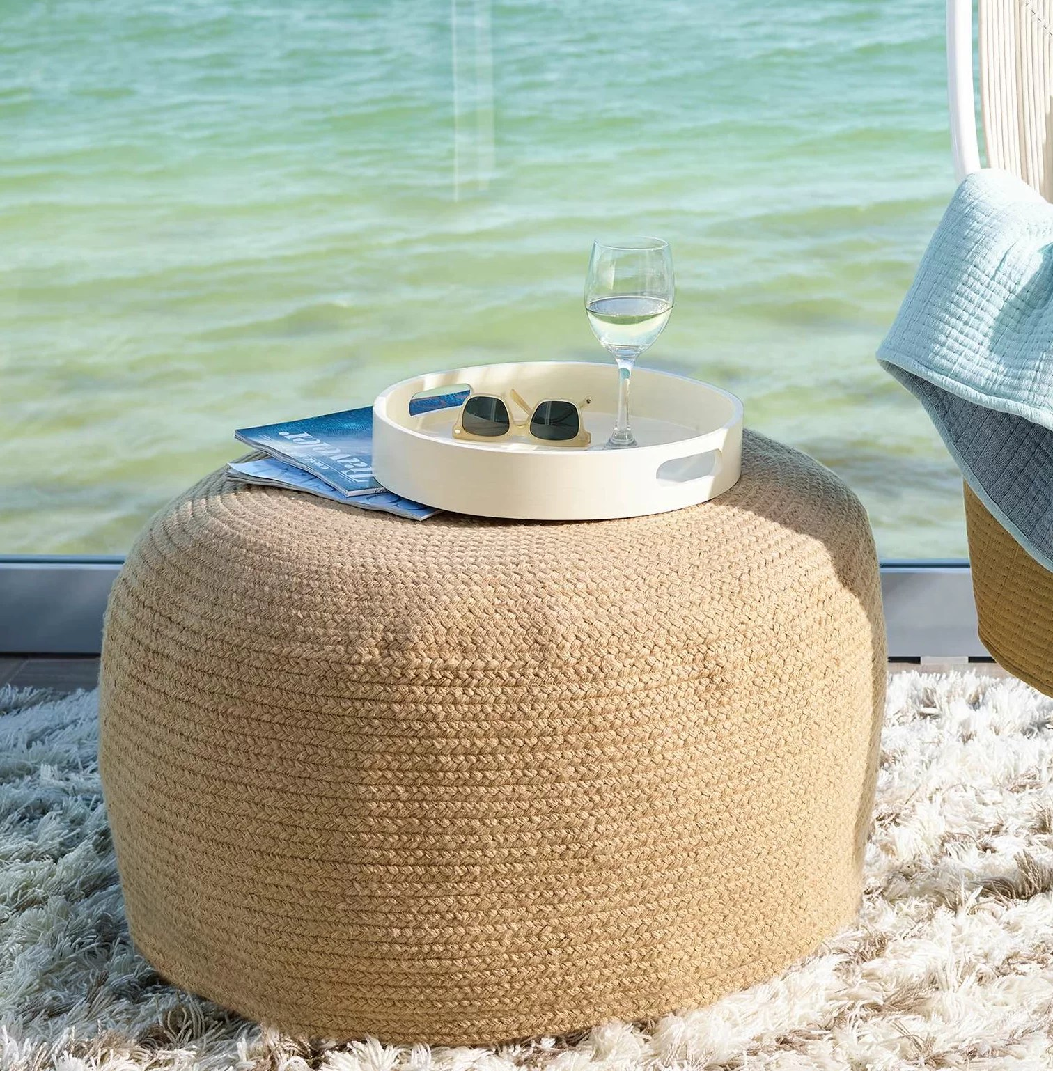 Fresh American Braided Natural Indoor/Outdoor Pouf 30\