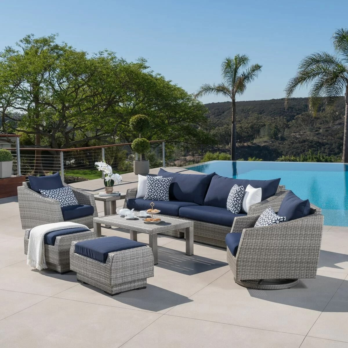 Owen 5 Piece Rattan Sofa Set With Cushions Greenfield Deluxe 8 Piece Rattan Sunbrella Sofa Seating Group With Cushions