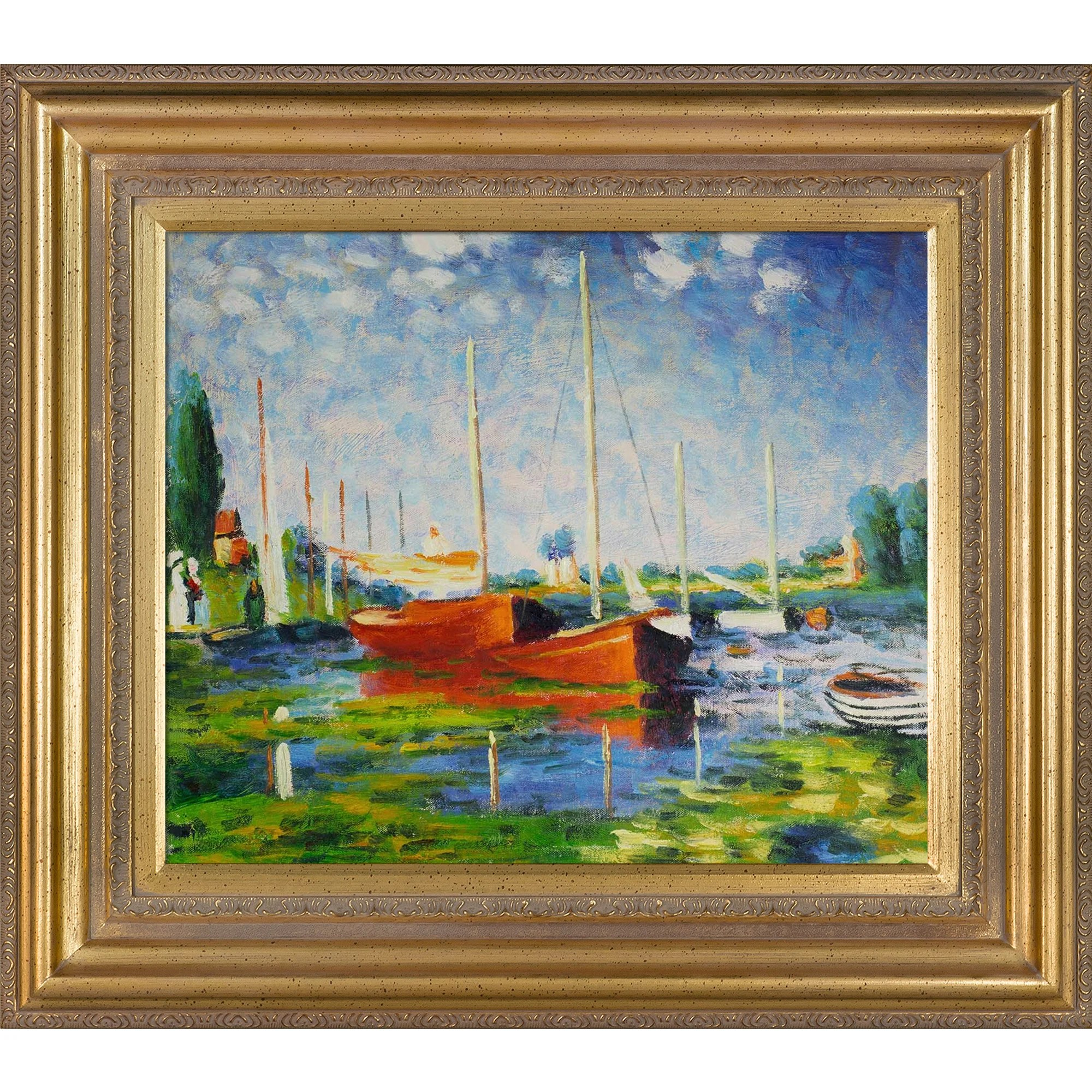 Photo Argenteuil Red Boats At Argenteuil By Claude Monet Framed Painting Print