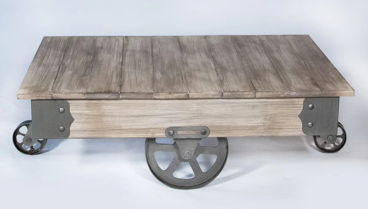 Table On Wheels Vintage Center Coffee Table With Wheels