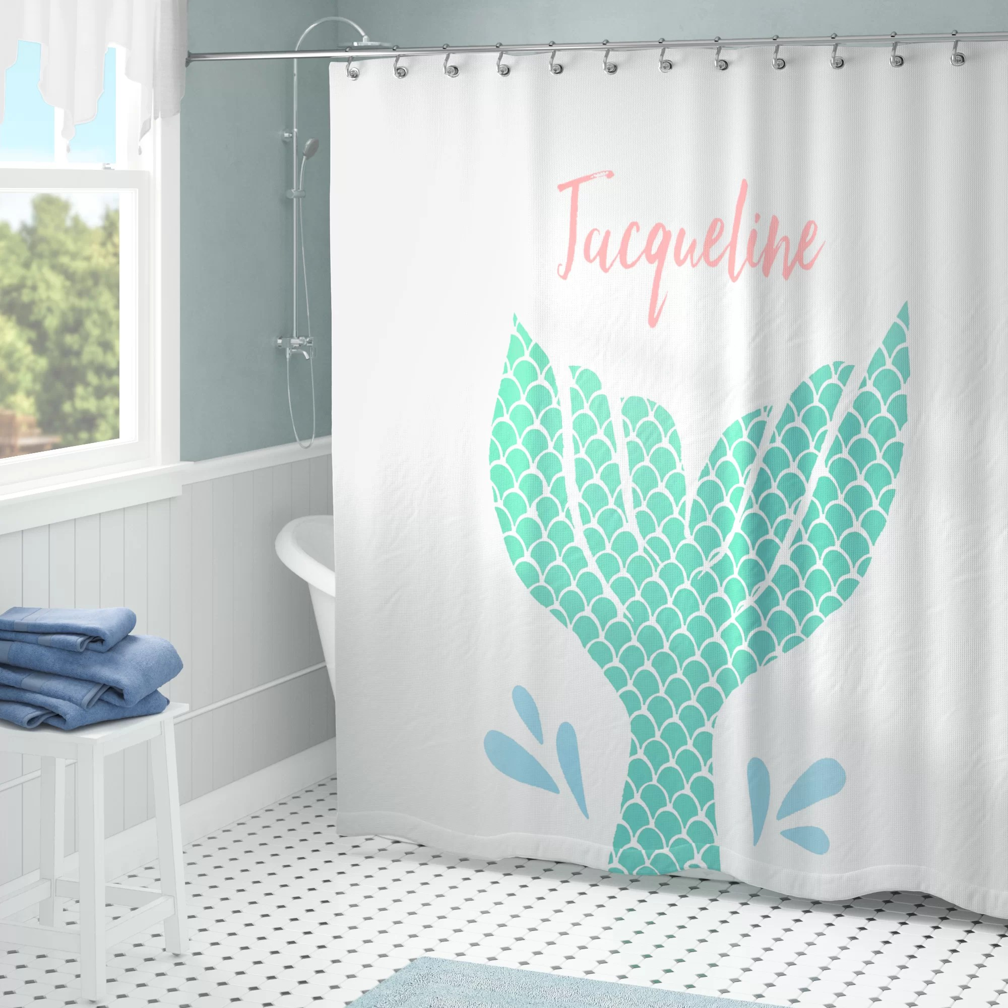 Mermaid Scale Shower Curtain Jena Personalized Mermaid Tail Single Shower Curtain