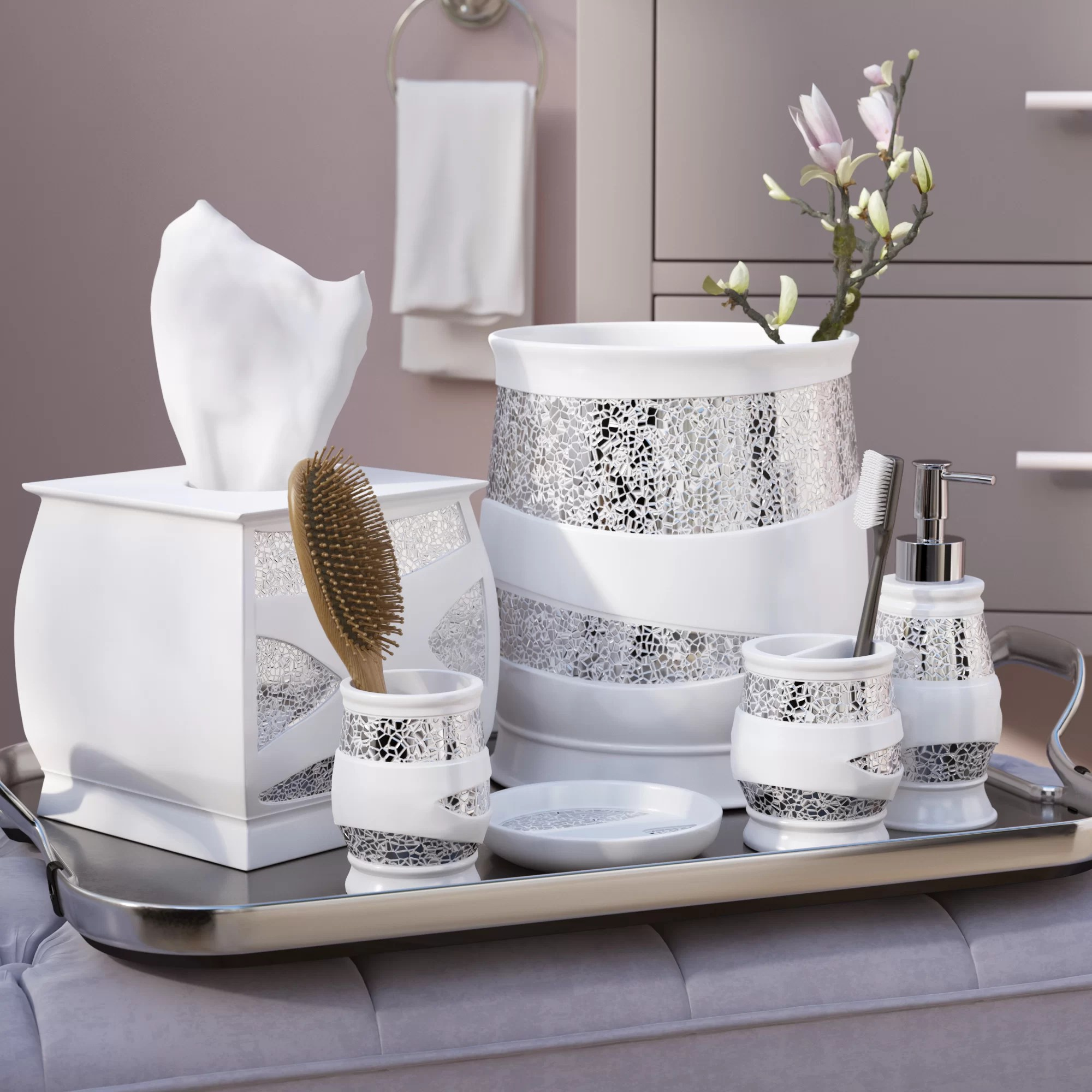 Bathroom Accessories Rivet 6 Piece White Silver Bathroom Accessory Set