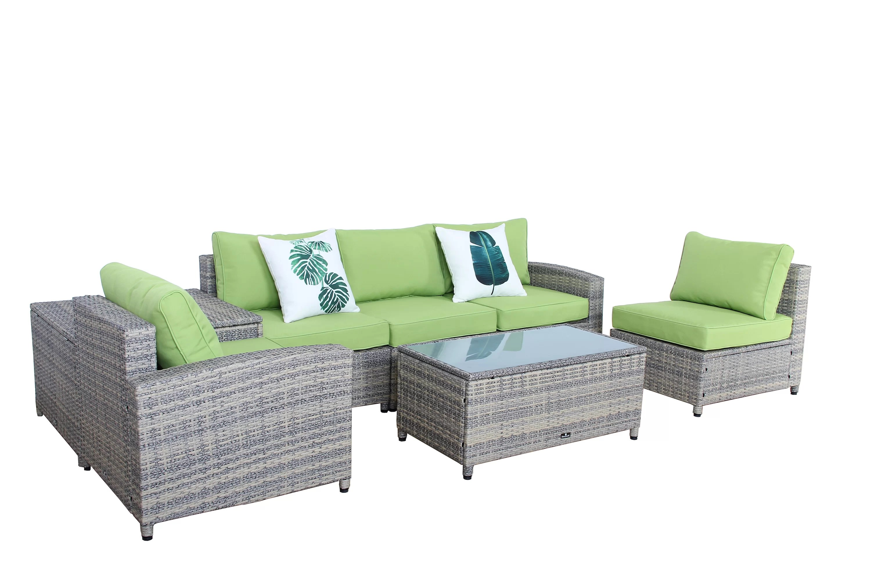 Sofa Rattan Ingrid 7 Piece Rattan Sofa Set With Cushions