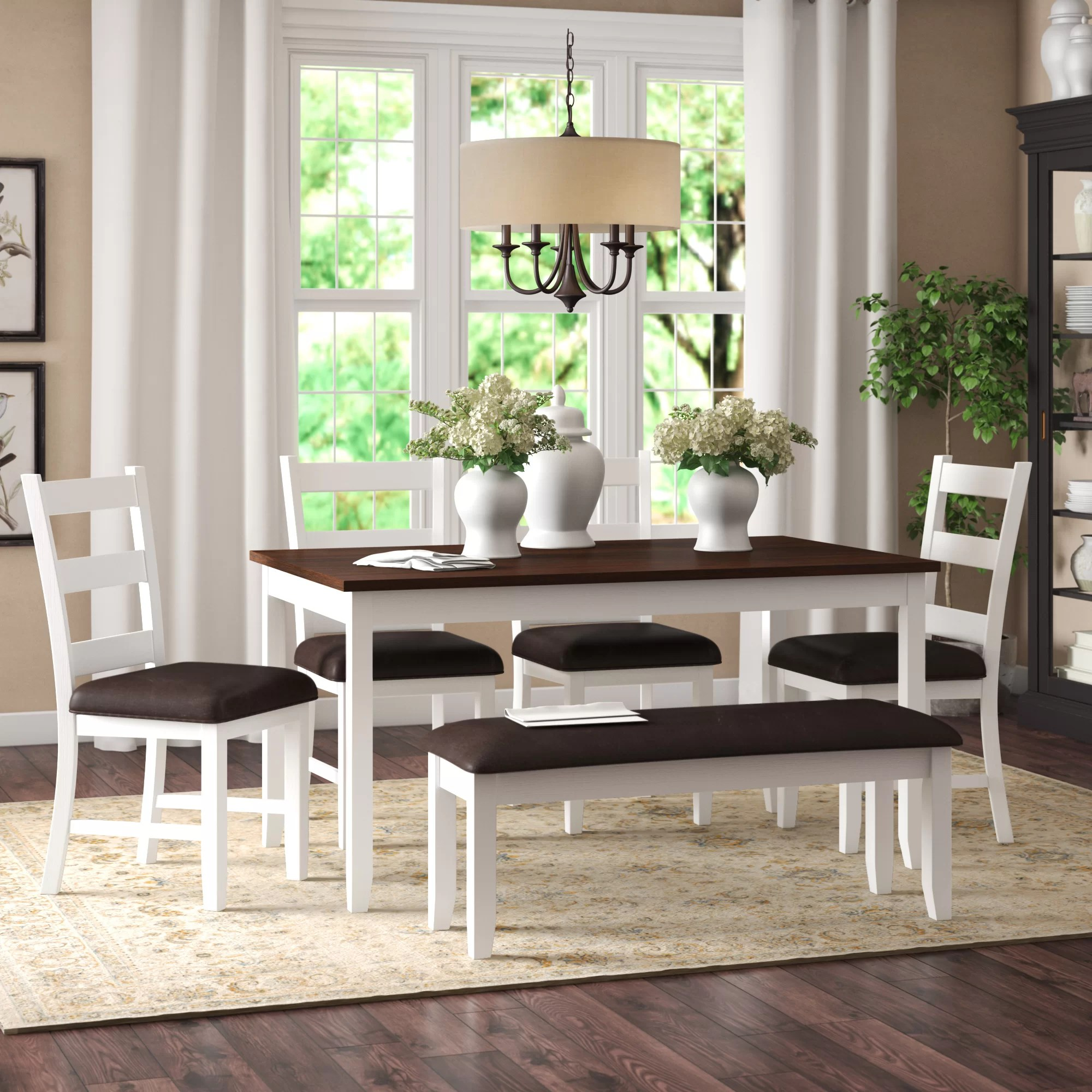 Alcott Hill Mavis Acacia Solid Wood Breakfast Nook Dining Set Reviews Wayfair