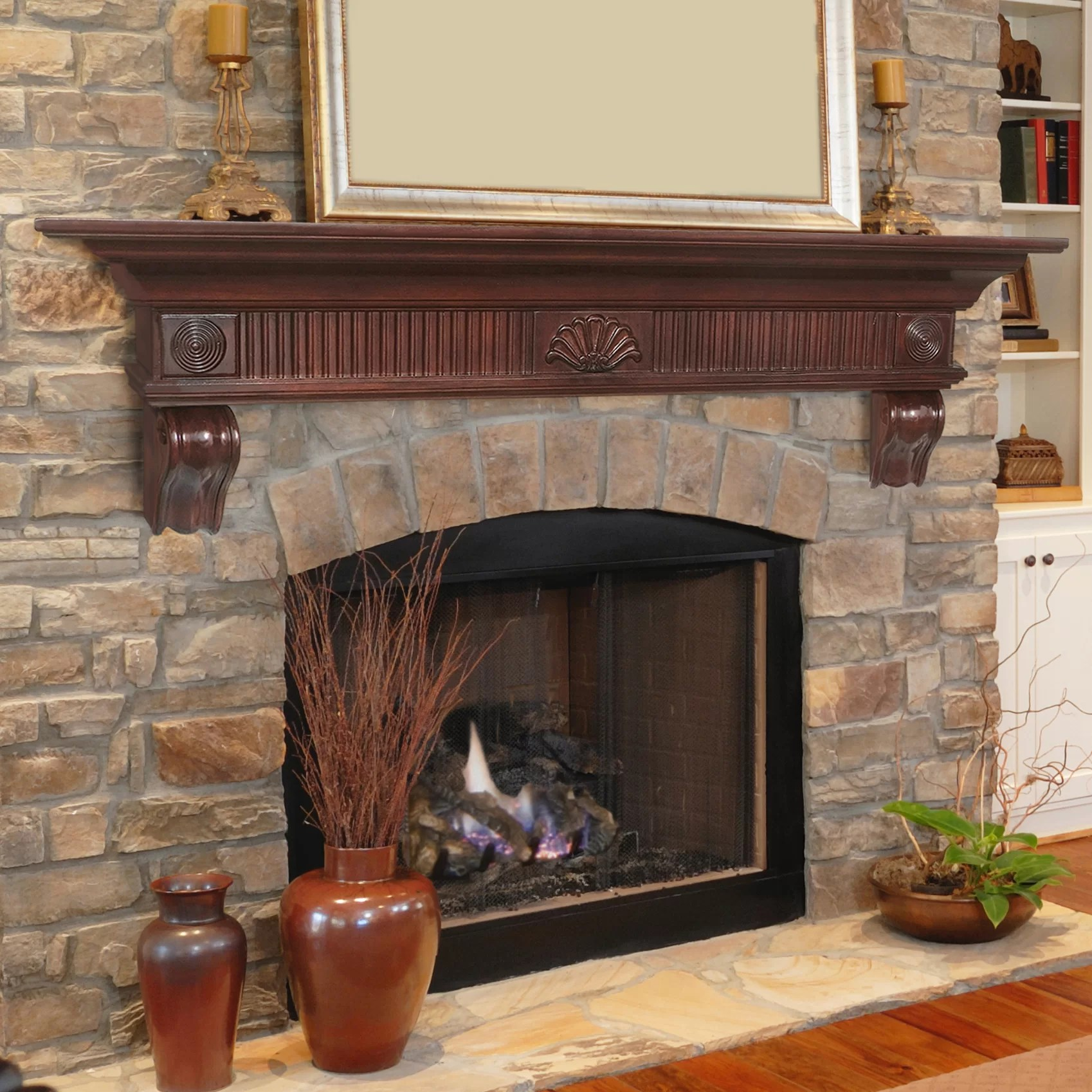 Brick Fireplace Wood Mantel The Devonshire Fireplace Shelf Mantel