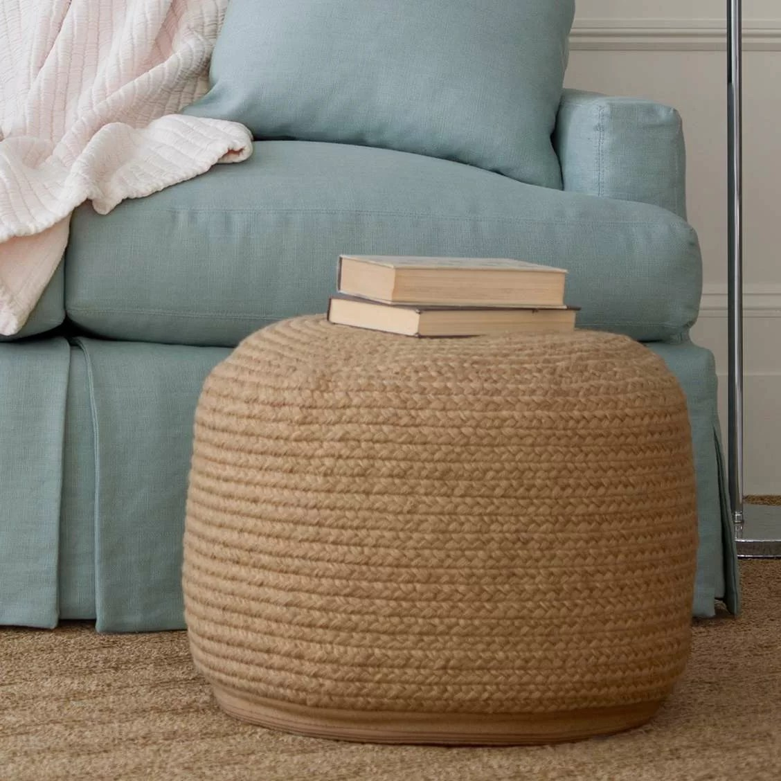Fresh American Braided Natural Indoor Outdoor Pouf 20