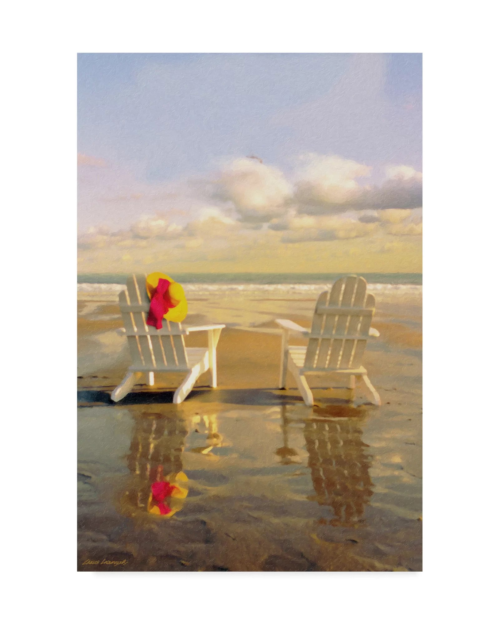 Highland Dunes Chairs On The Beach Acrylic Painting Print On Wrapped Canvas Wayfair