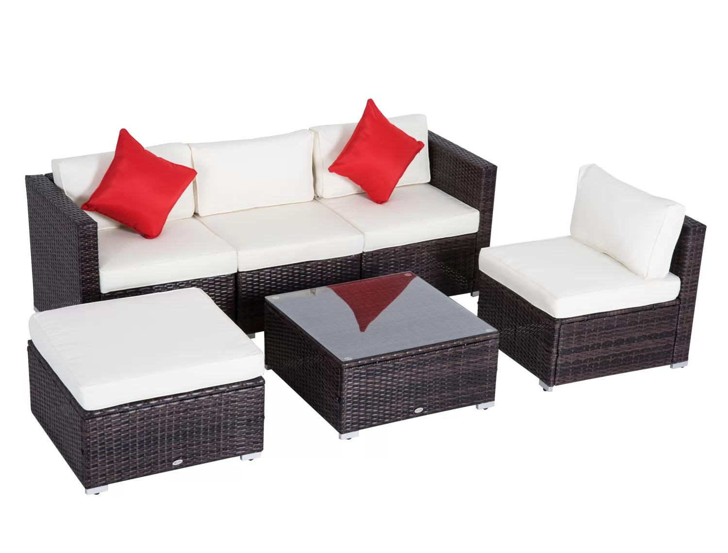 Owen 5 Piece Rattan Sofa Set With Cushions Sol 72 Outdoor Allmodern