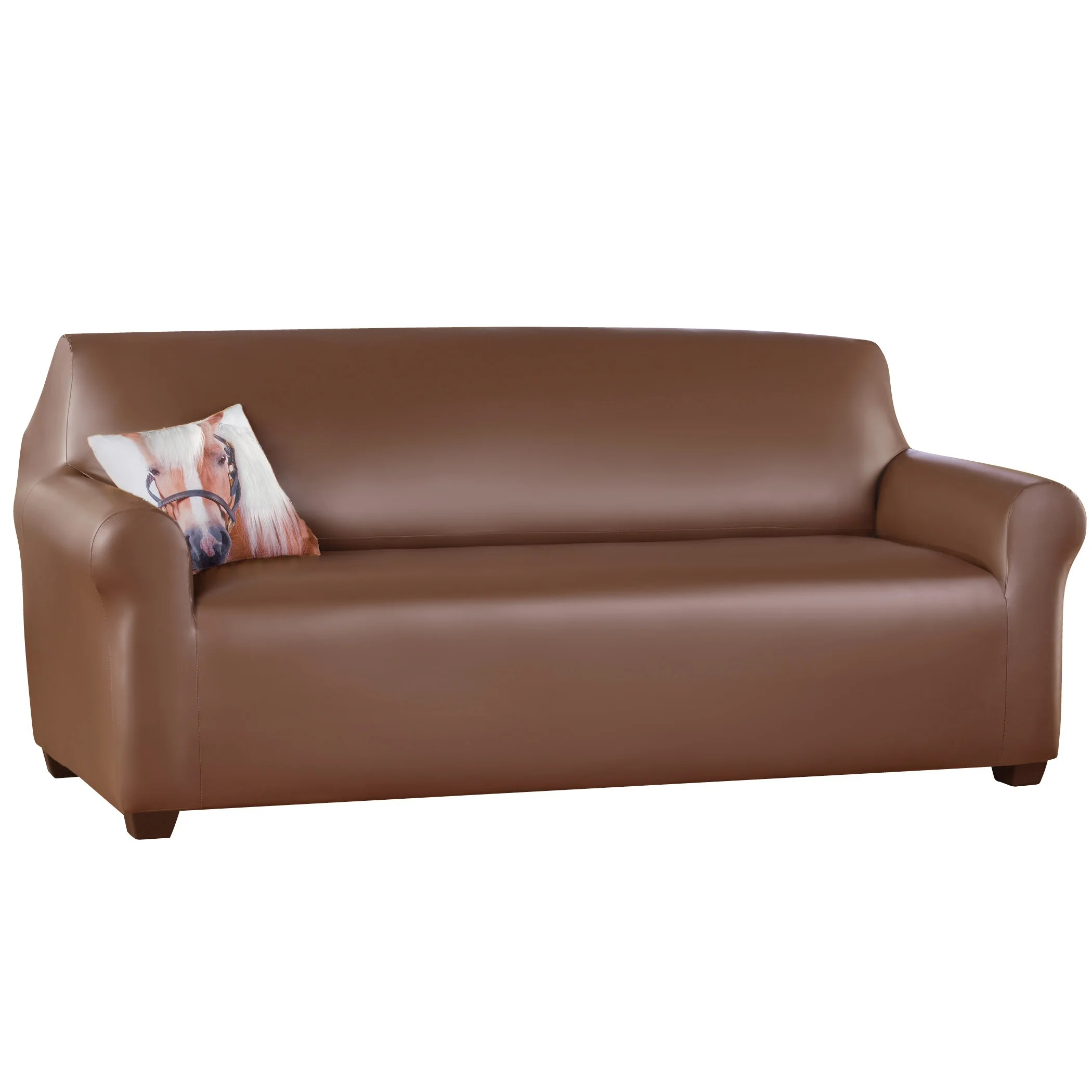 Red Barrel Studio Faux Leather T Cushion Sofa Slipcover Wayfair