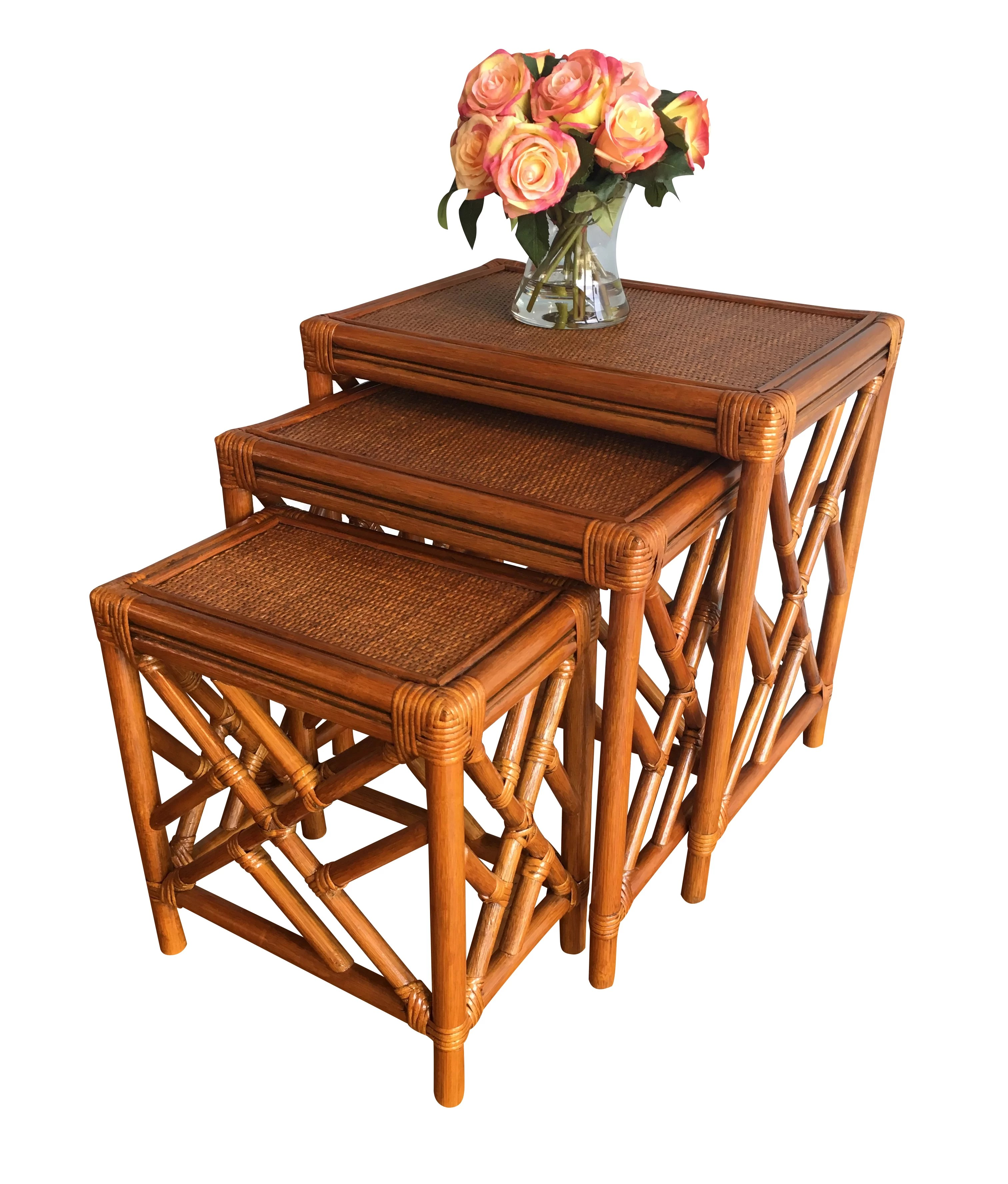 Rattan Table Colusa Rattan 3 Piece Nesting Tables