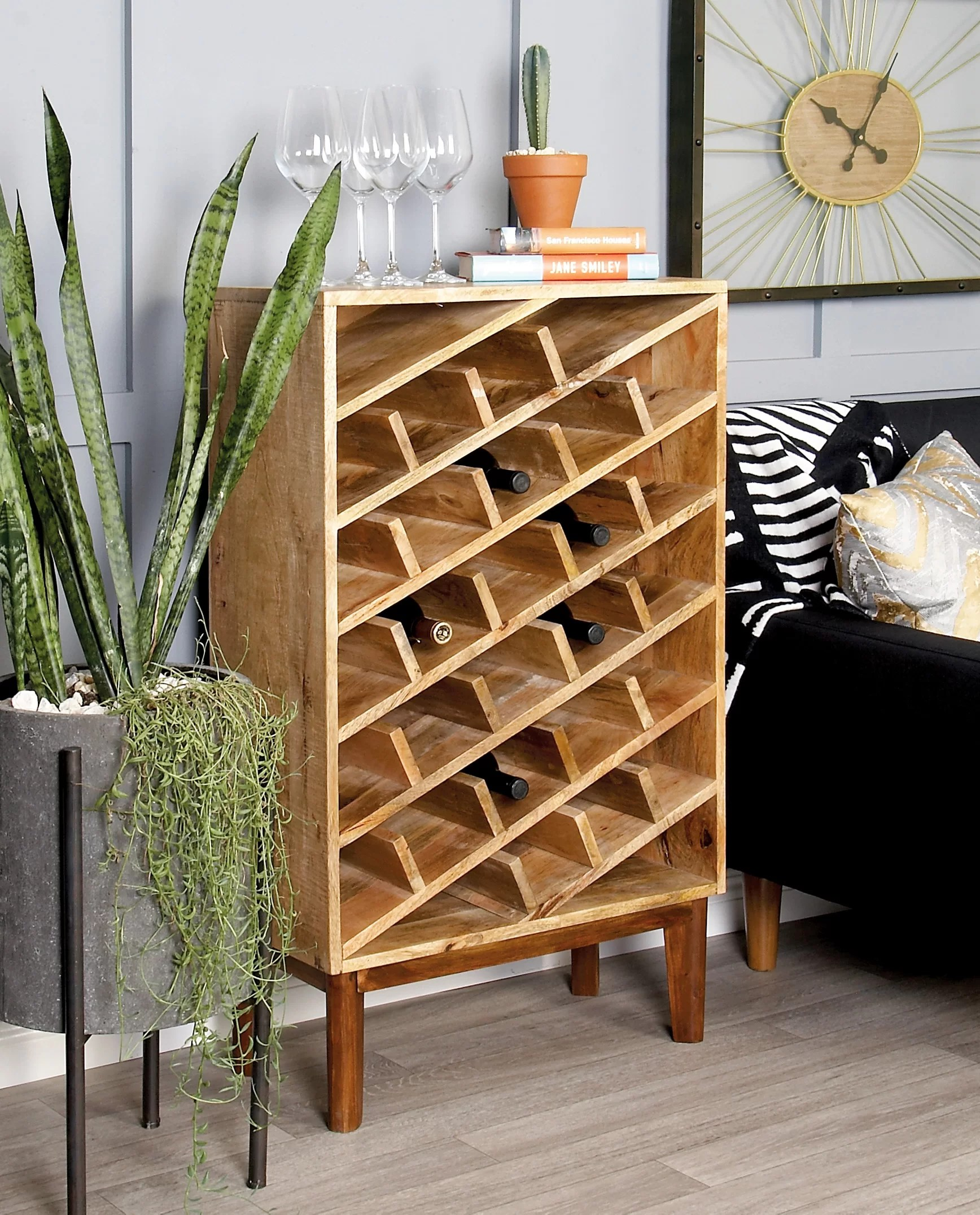 Wooden Bottle Rack Wood 24 Bottle Floor Wine Bottle Rack