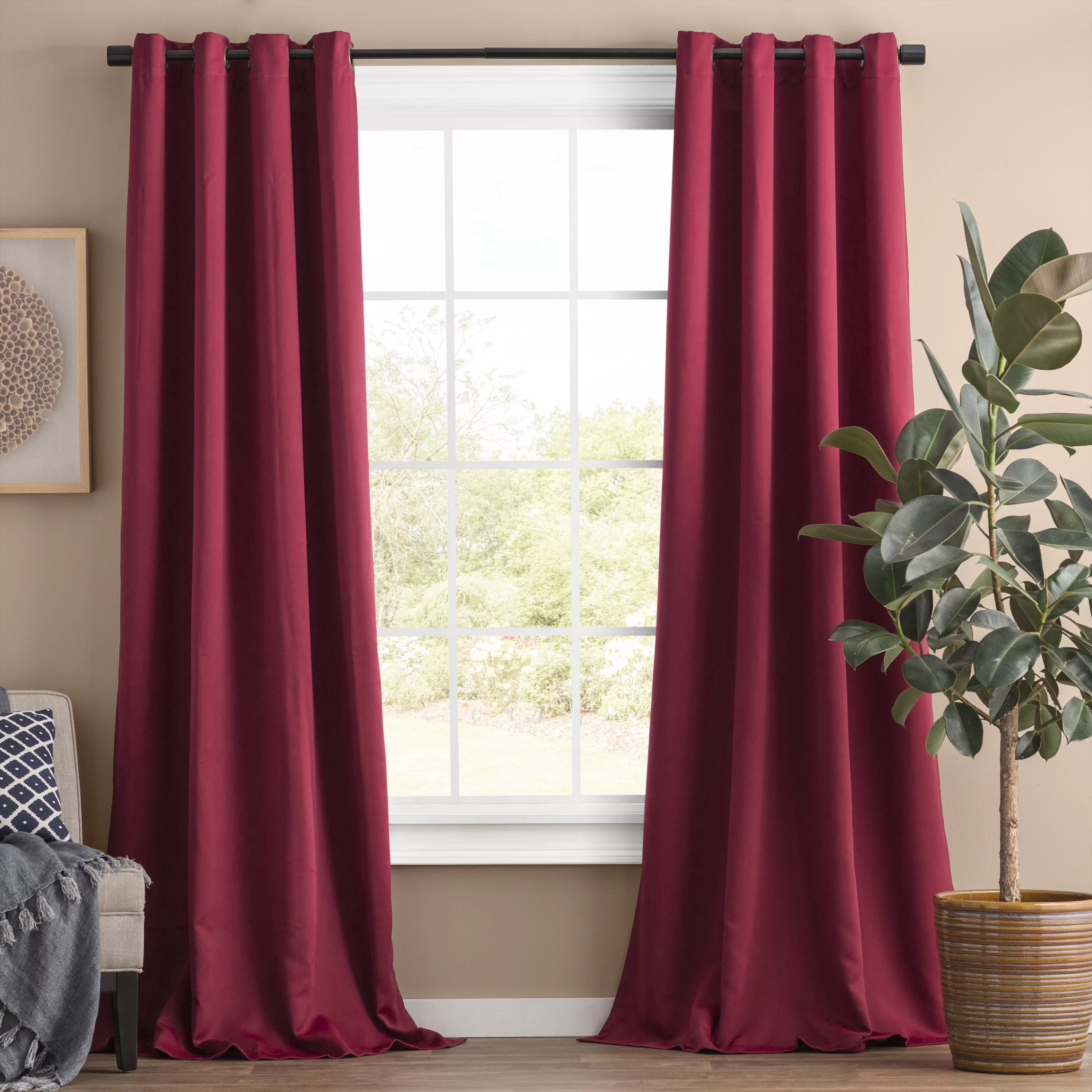 Dark Red Blackout Curtains Solid Blackout Thermal Grommet Curtain Panels