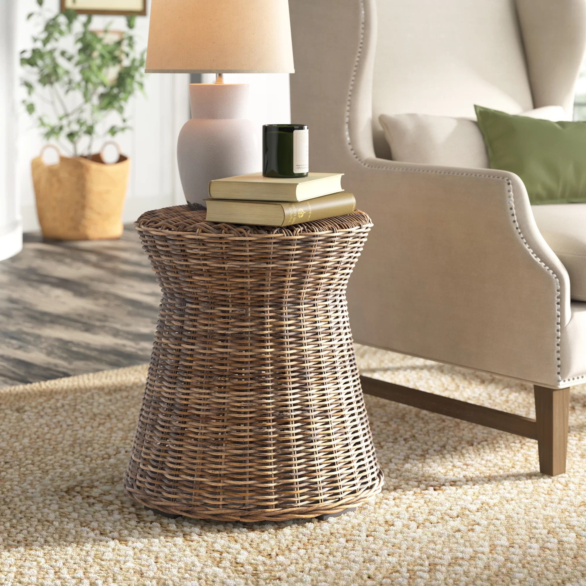 Madewell Rattan Drum End Table Reviews Birch Lane