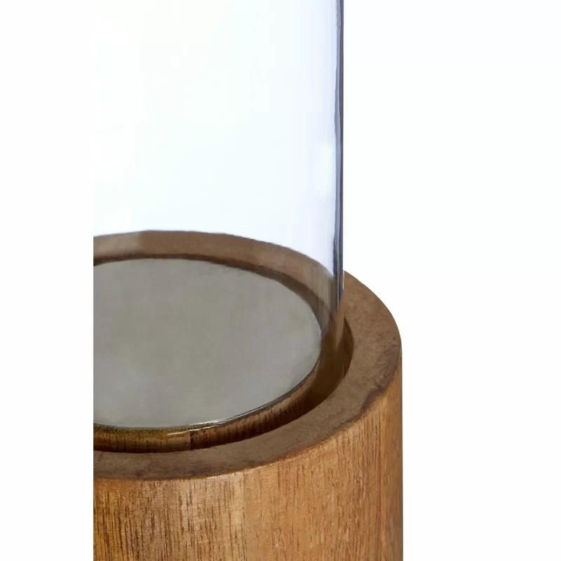 Beachcrest Home Windlicht aus Glas und Holz & Bewertungen