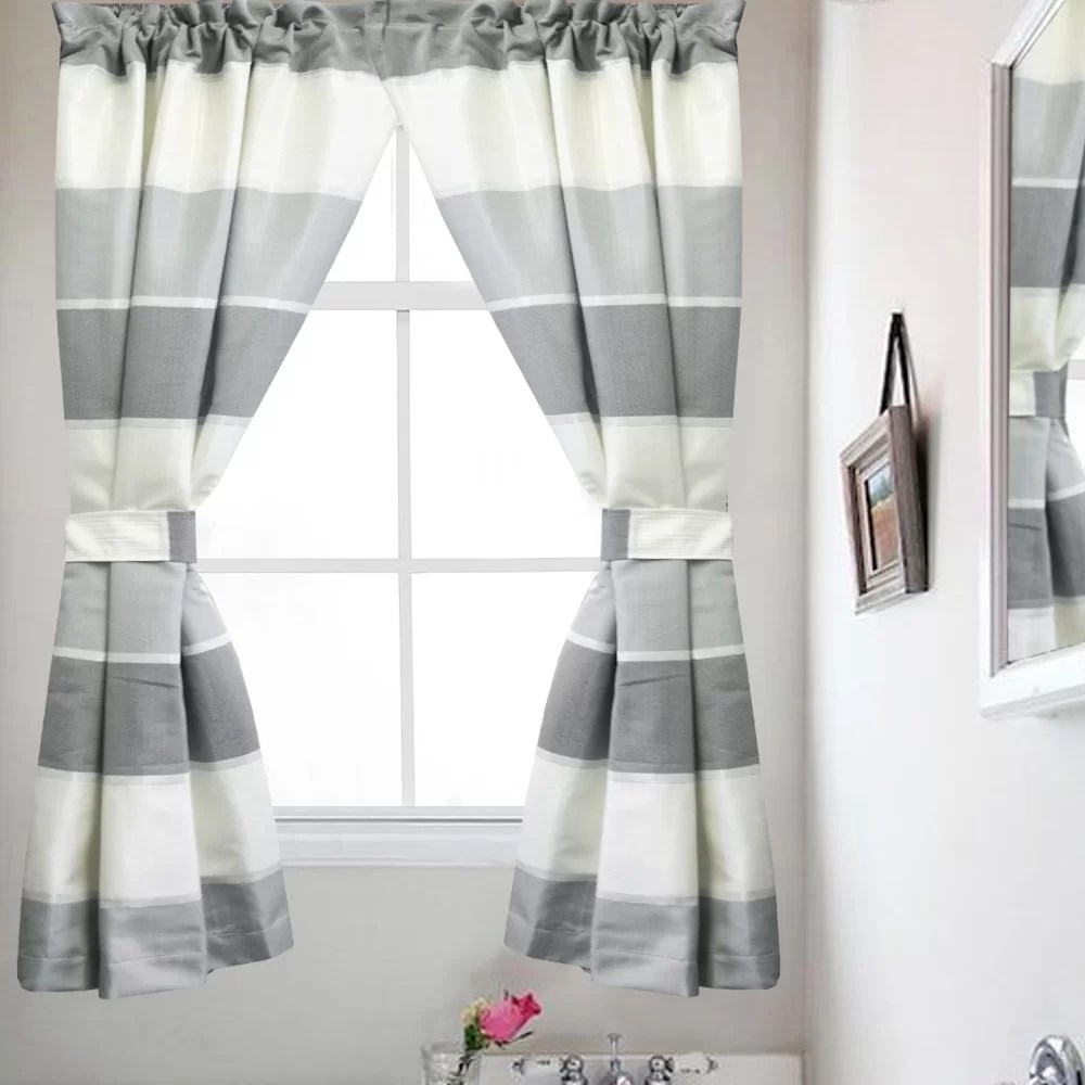 Bathroom Window Covering Highland Bathroom Window Striped Rod Pocket Curtain Panels