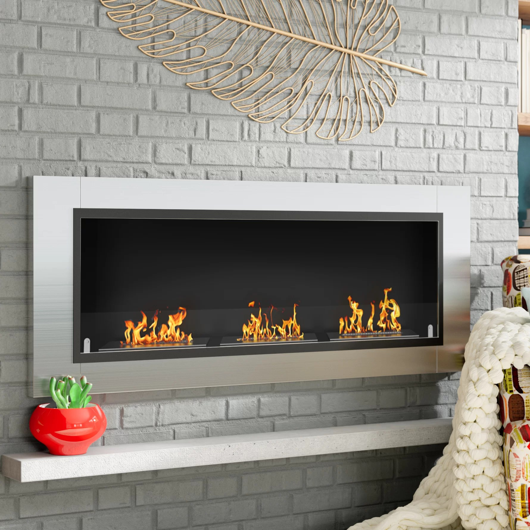 Wall Mount Fireplaces Kelling Ventless Recessed Wall Mounted Bio Ethanol Fireplace