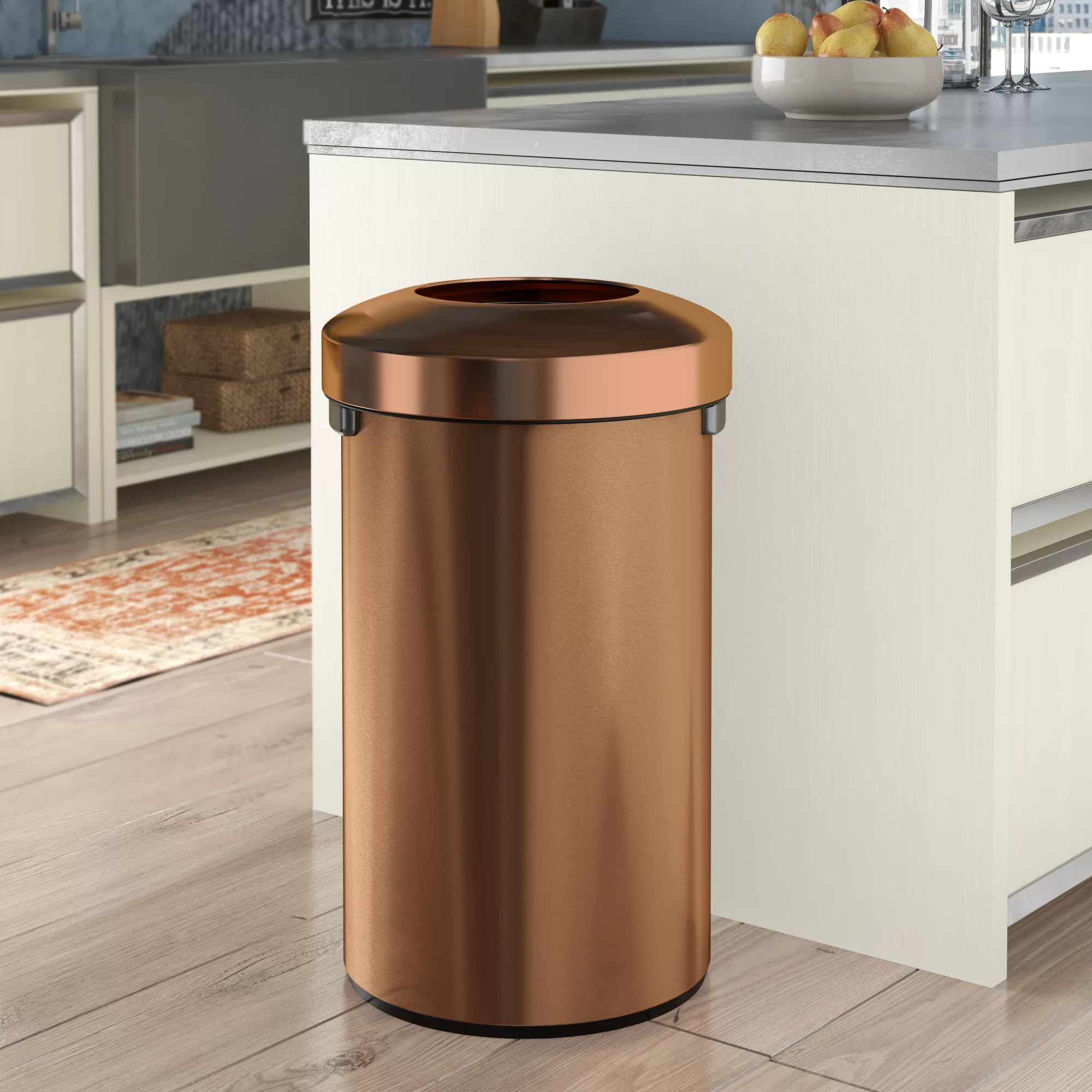 Copper Trash Can With Lid Decorative Receptacle Stainless Steel 24 Gallon Trash Can