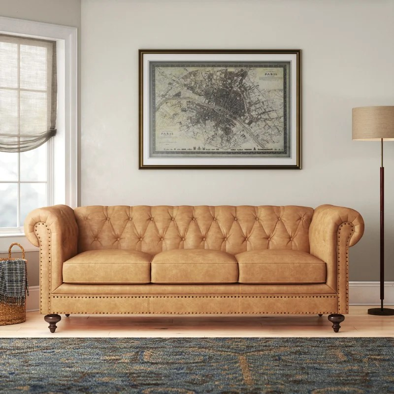Pepperell Leather Chesterfield Sofa Reviews Birch Lane