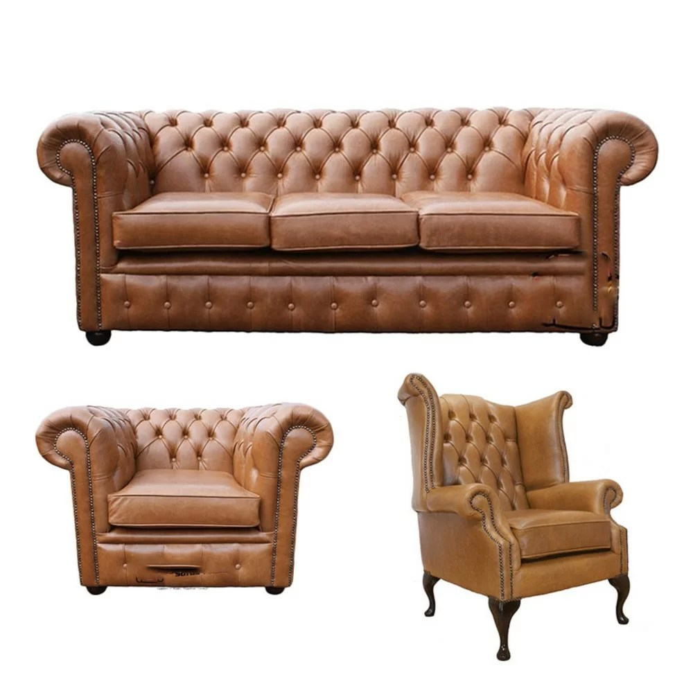 Winchester Leather 3 Tlg Couchgarnitur Chesterfield Aus Echtleder Wayfair De