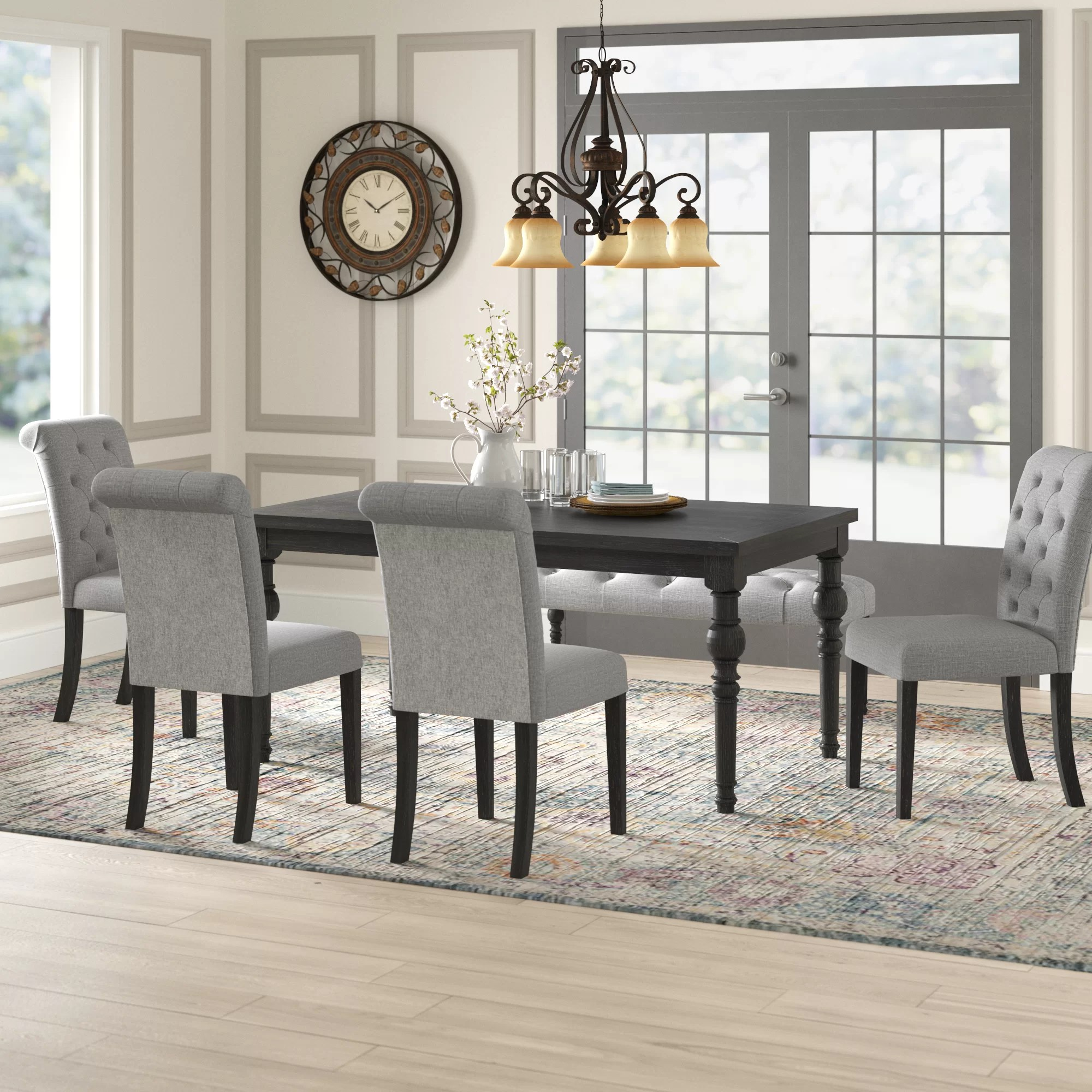 Charlton Home Evelin Solid Wood Dining Set Reviews Wayfair