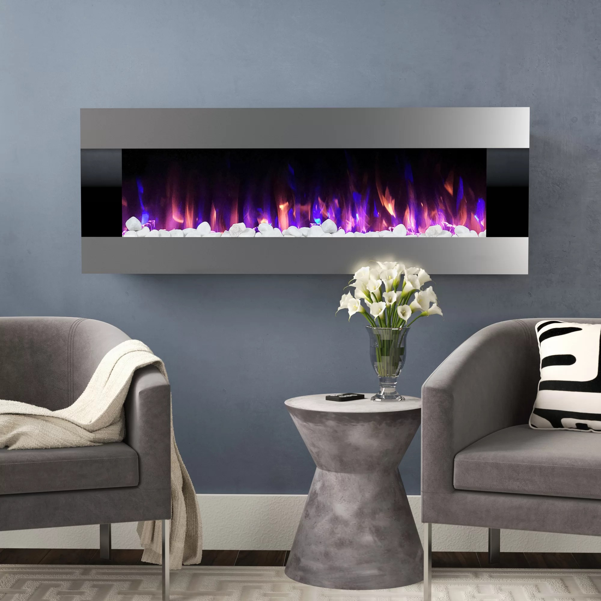 Wall Mount Fireplaces Quesinberry Recessed Wall Mounted Electric Fireplace