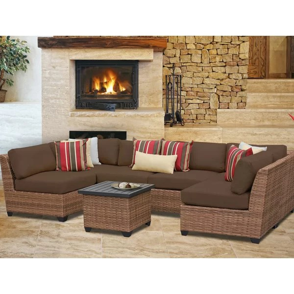 TK Classics Laguna 7 Piece Sectional Seating Group with Cushion - 7 piece living room set