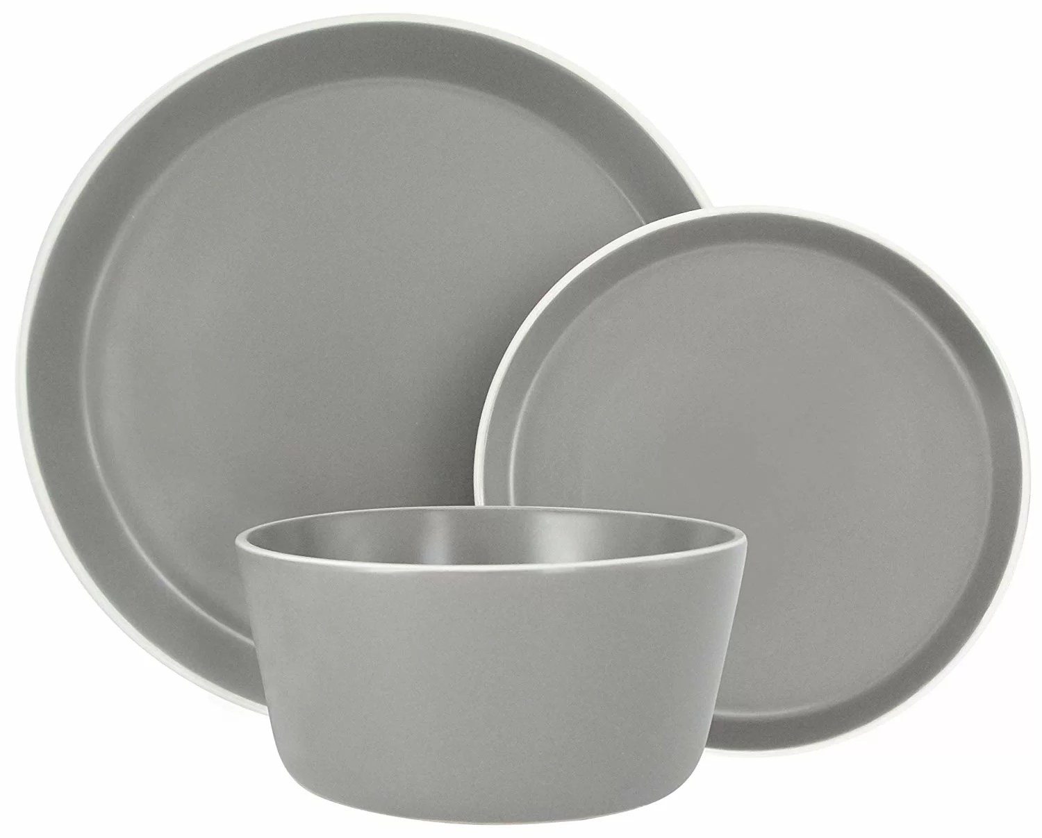 Microwave Plate Melange Stoneware 18 Piece Dinnerware Set Moderno Grey Service For 6 Microwave Dishwasher Oven Safe Dinner Plate Salad Plate Soup Bowl 6