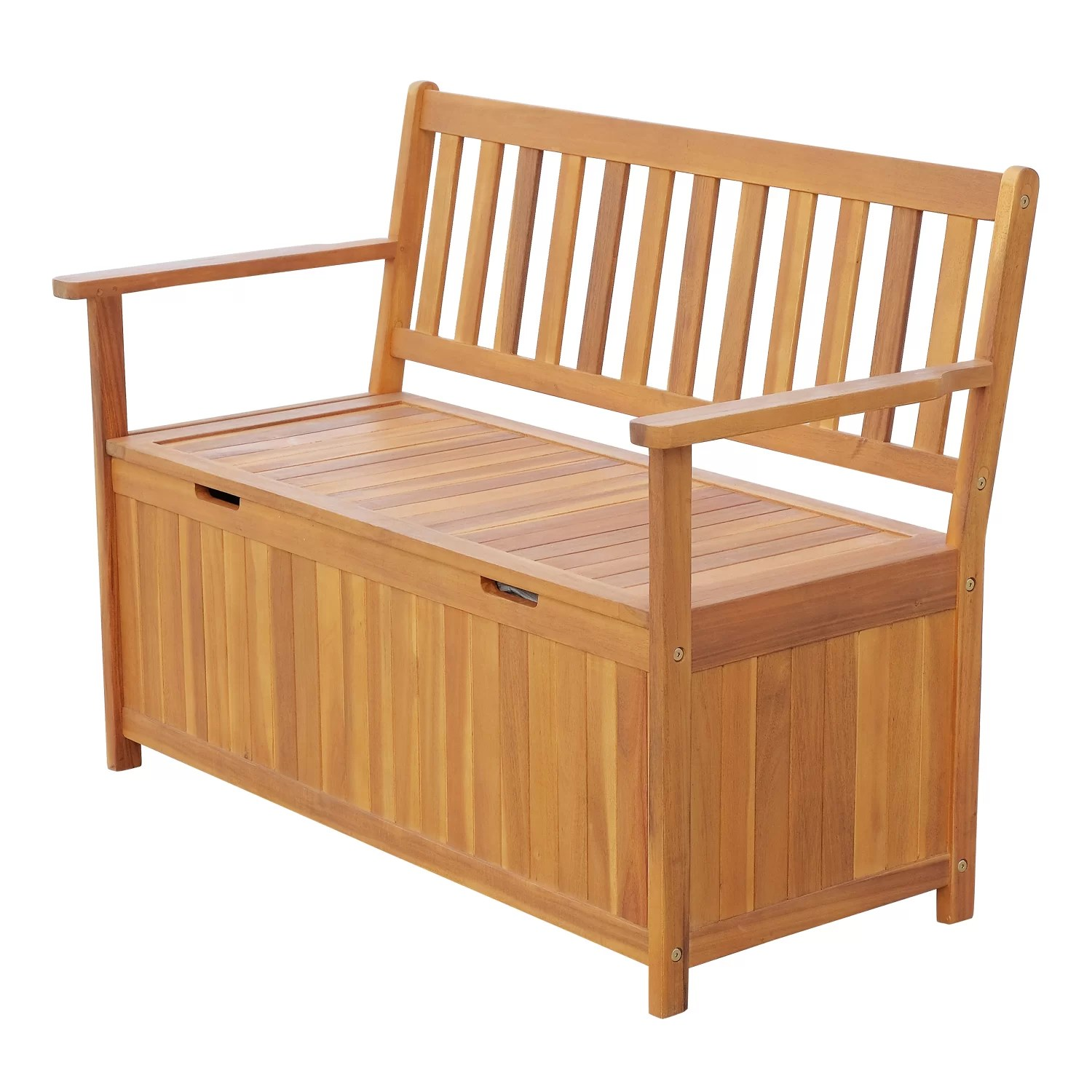 Wooden Storage Bench Silvia Outdoor Wooden Storage Bench