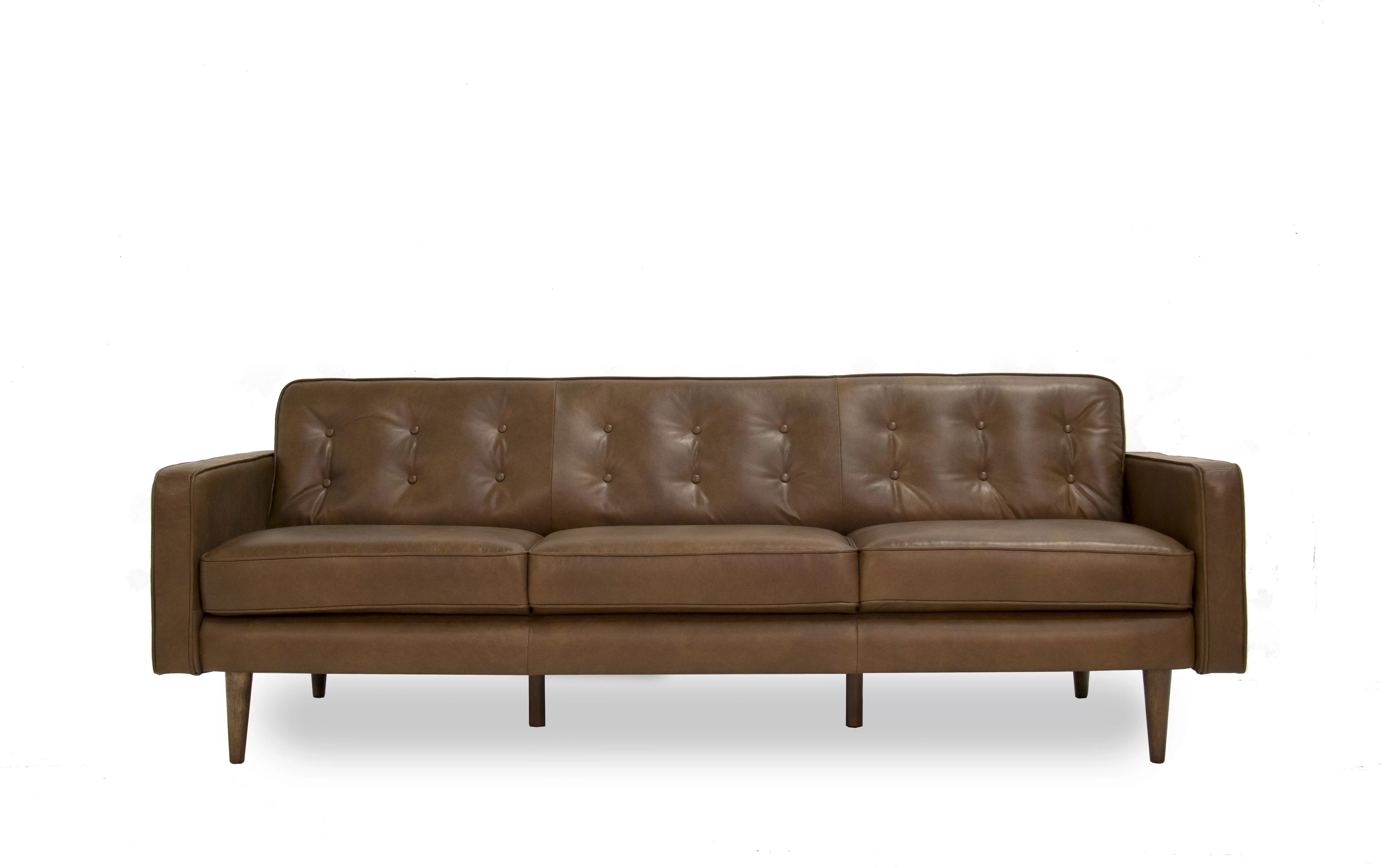 Brown Real Leather Couch Trevor Mid Century Modern Leather Sofa