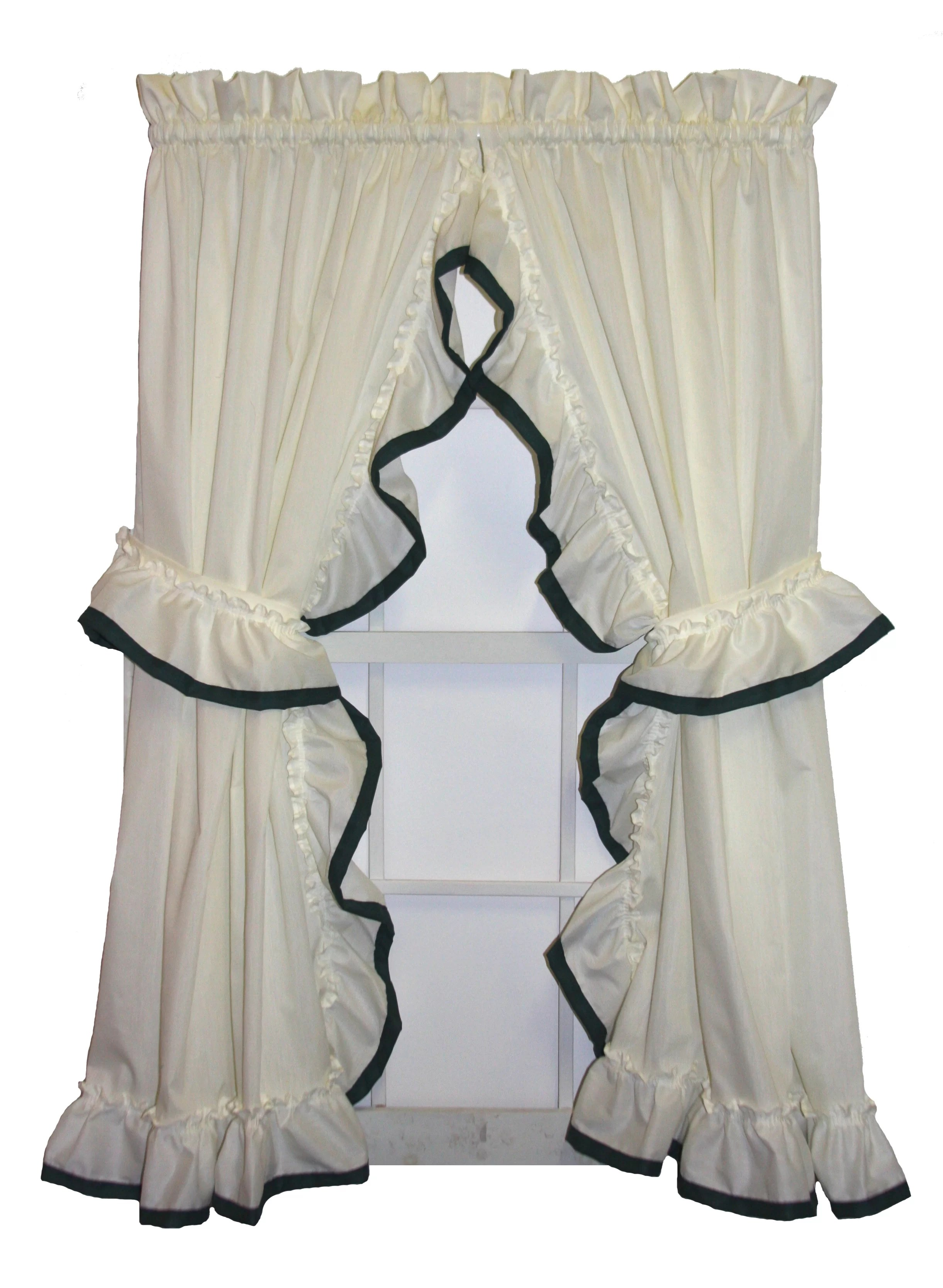 Ruffle Curtain Panel Howells Banded Edge Ruffled Priscilla Curtain Panels Pair