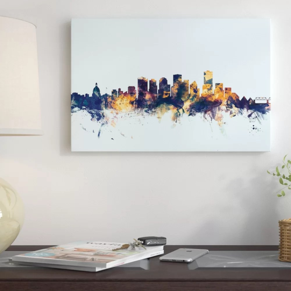 Edmonton Modern Furniture Skyline Series Edmonton Canada On Blue Painting Print On Wrapped Canvas