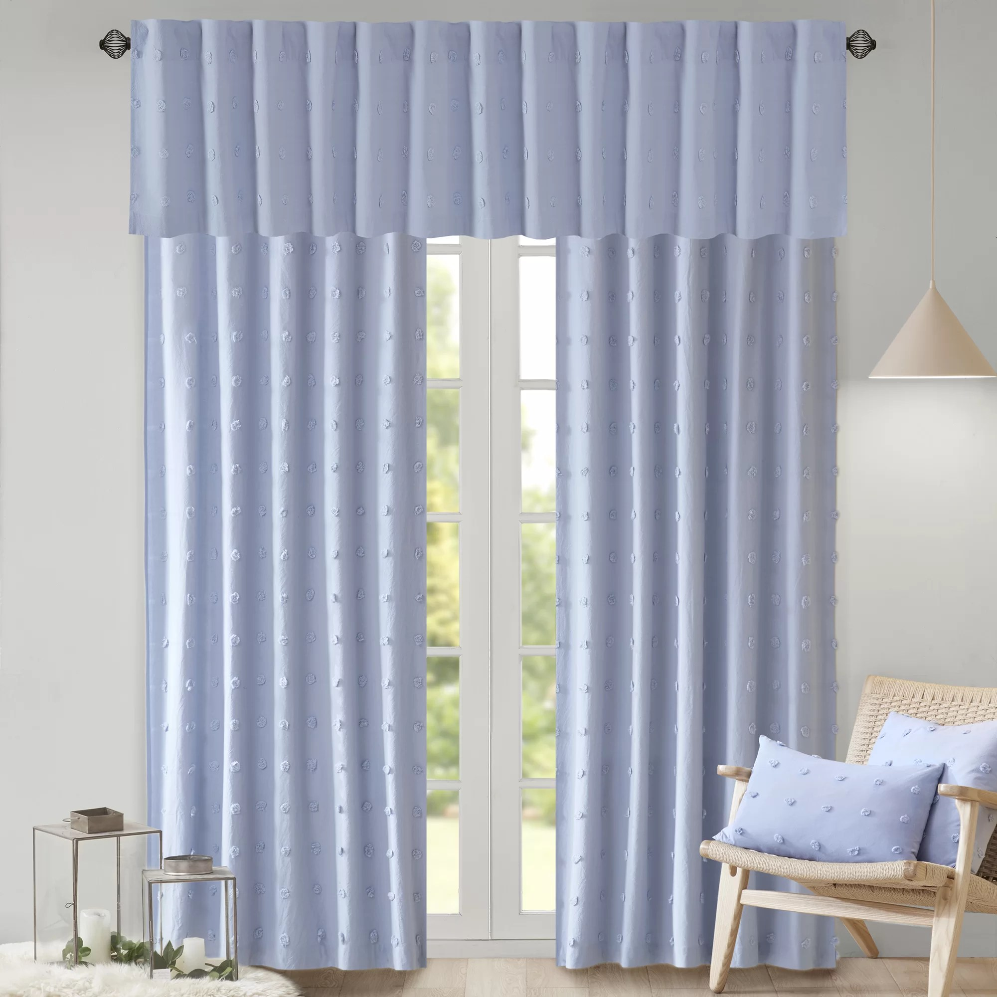 Cotton Curtain Panels Braunste Cotton Jacquard Pom Pom Window Solid Rod Pocket Single Curtain Panel