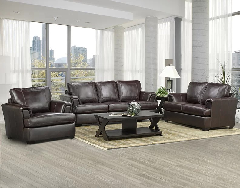 Coja Royal Cranberry Leather 3 Piece Living Room Set Wayfair - 3 piece living room sets