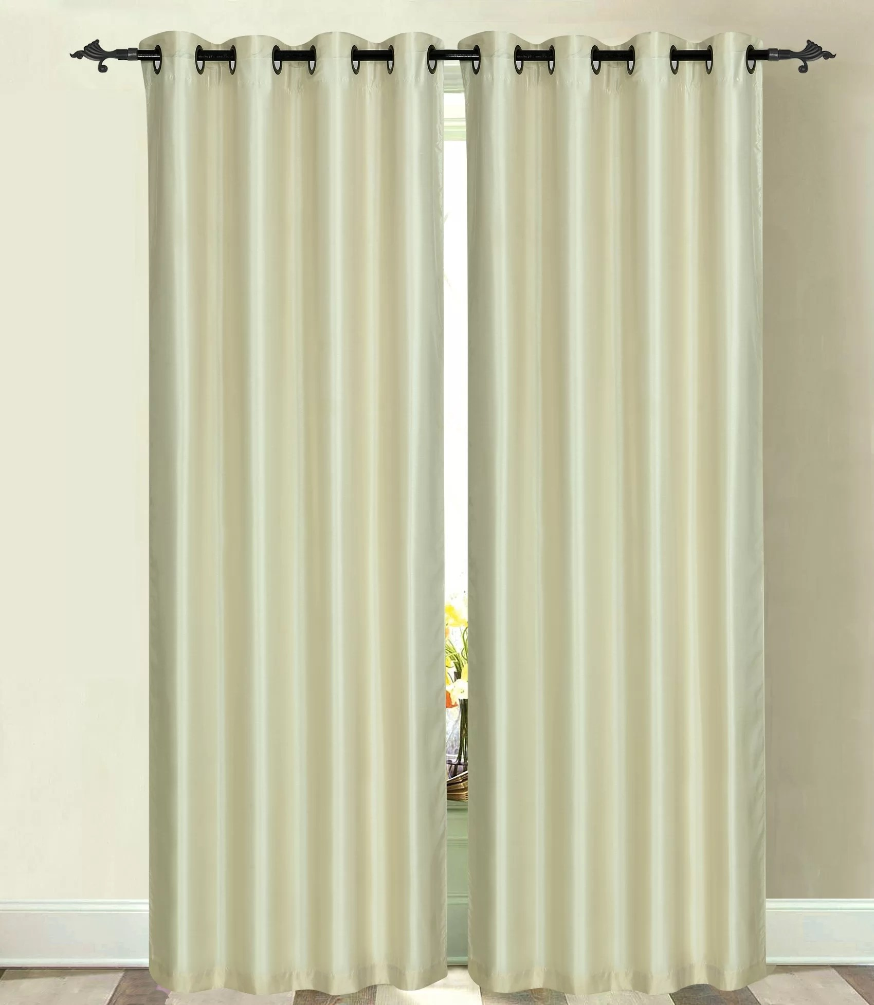 Double Wide Curtain Panels Hults Faux Silk Double Layer Extra Wide Solid Max Blackout Thermal Grommet Curtain Panels
