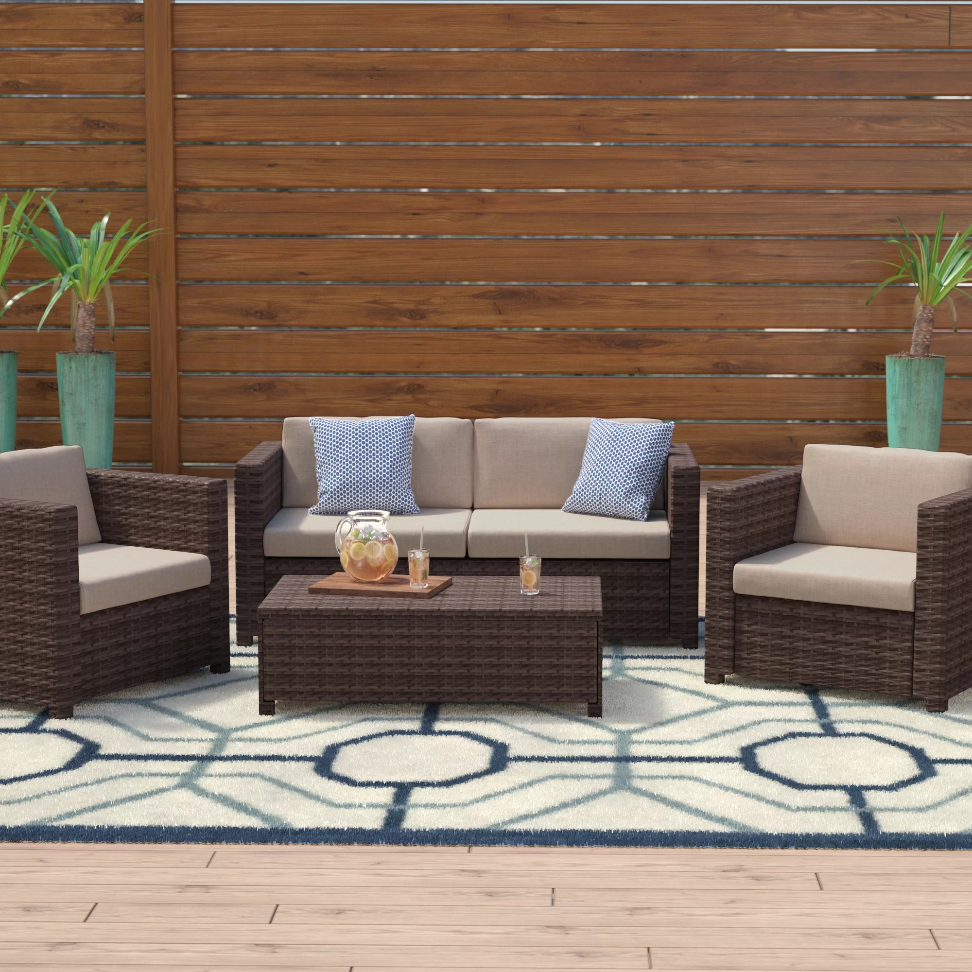 Rattan Sofa Near Me Kappa 4 Piece Rattan Sofa Seating Group With Cushions
