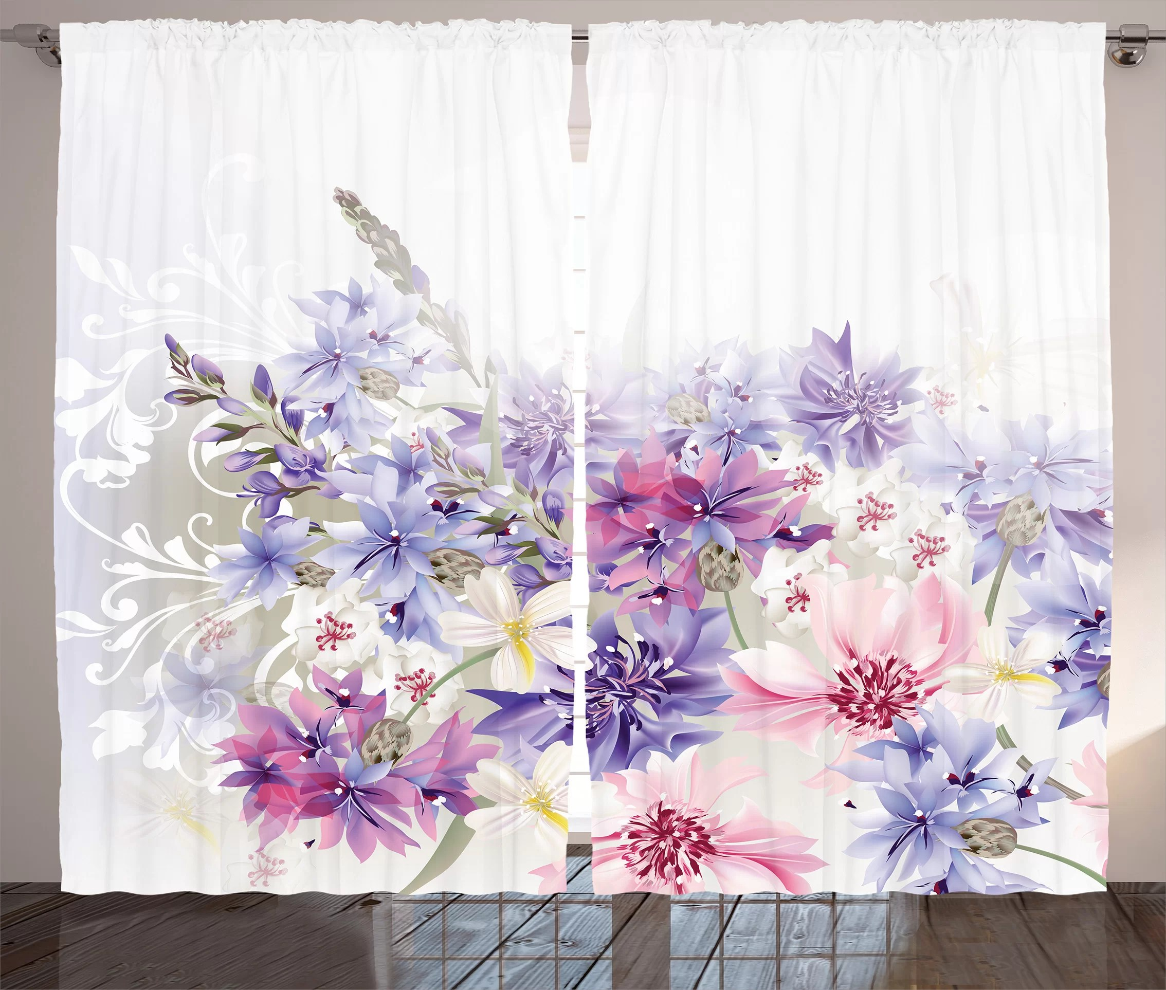 Lavender Sheer Curtains Cabarita Lavender Pastel Cornflowers Bridal Classic Design Gentle Floral Wedding Print Graphic Print Text Semi Sheer Rod Pocket Curtain Panels